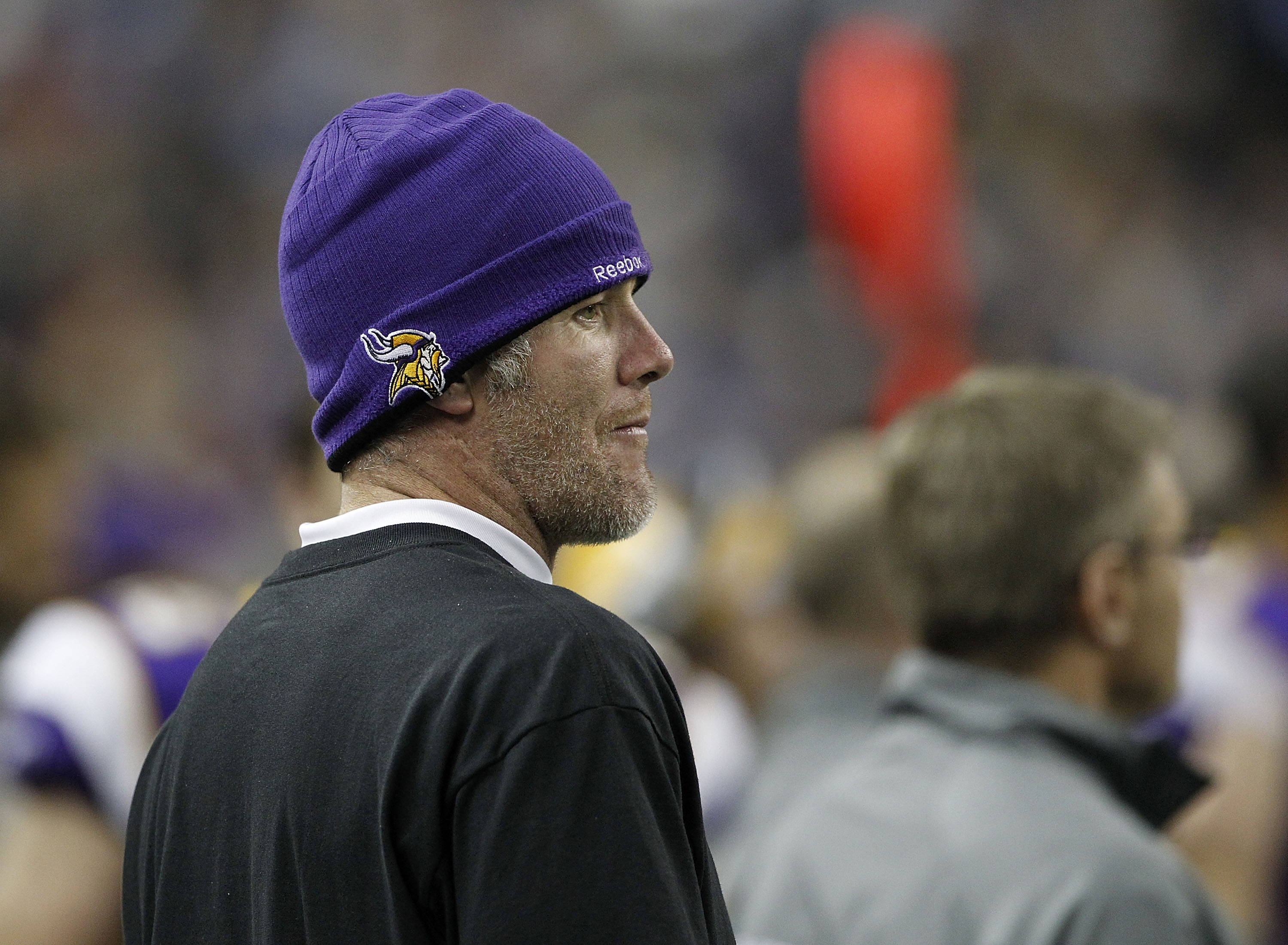 Quarterback Brett Favre #4 of the Minnesota Vikings watches the action during the game against the New York Giants at Ford Field on December 13, 2010 in Detroit, Michigan. The Giants defeated the Vikings 21-3. (Photo by Leon Halip/Getty Images)