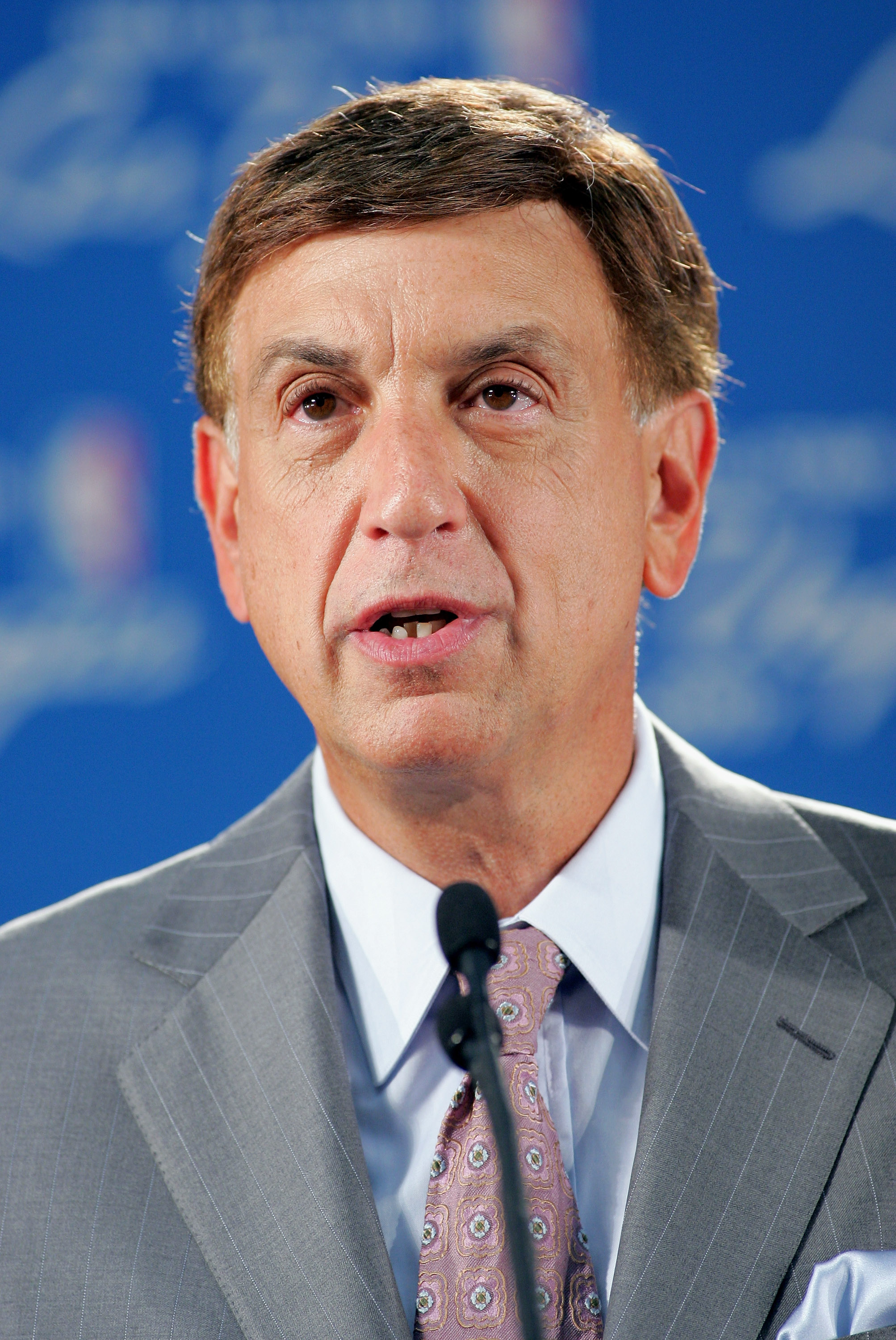 LAS VEGAS - AUGUST 5:  NBA announcer for TNT, Marv Albert, speaks at a news conference announcing that the city of Las Vegas will host the 2007 NBA All-Star Game held on August 5, 2005 at the Las Vegas Convention Center in Las Vegas, Nevada. It will be th