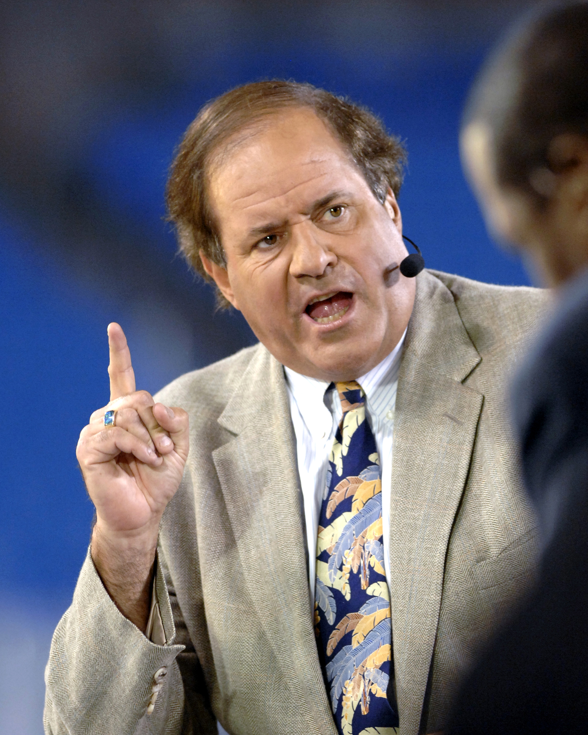 ESPN commentator Chris Berman on Monday Night Football Nov. 13, 2006 as the Carolina Panthers host the Tampa Bay Buccaneers  in Charlotte.  The Panthers won 24 - 10. (Photo by A. Messerschmidt/Getty Images)