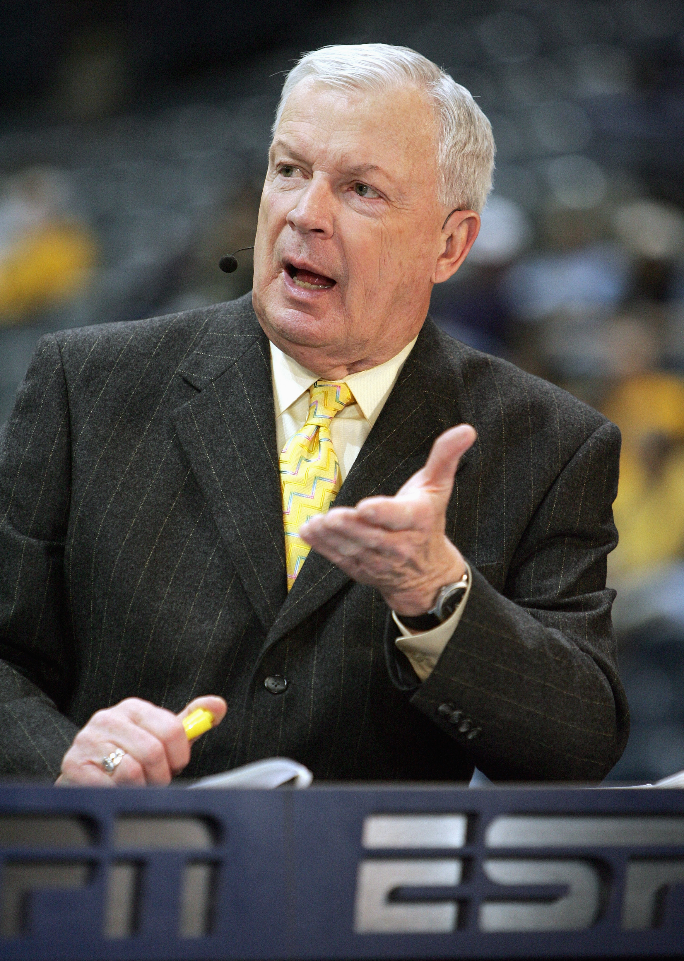 MILWAUKEE - MARCH 3: ESPN college basketball analyst Digger Phelps gives life commentary before the game between the Marquette Golden Eagles and the Pittsburgh Panthers on March 3, 2007 at the Bradley Center in Milwaukee, Wisconsin. (Photo by Jonathan Dan