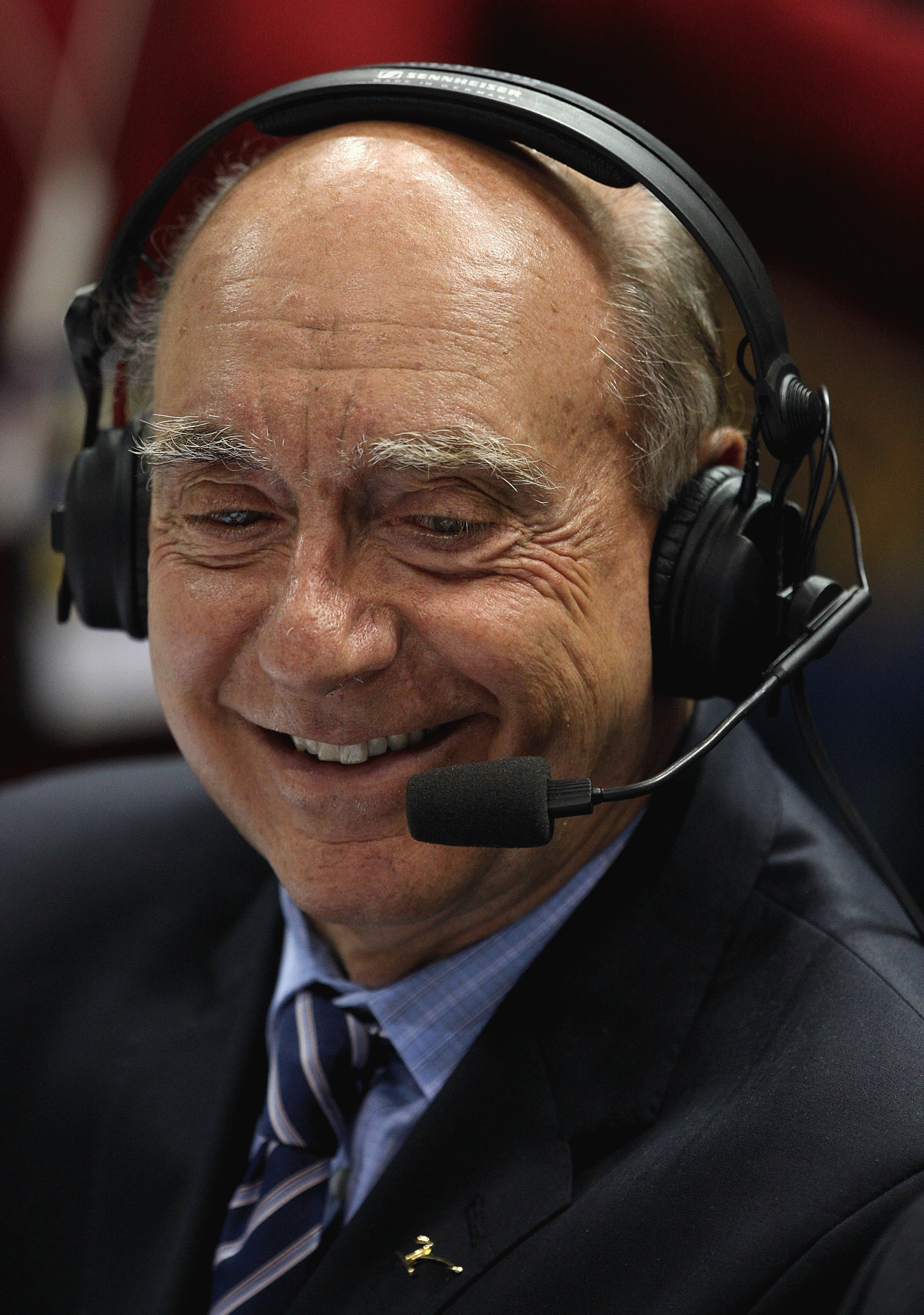 MILWAUKEE - FEBRUARY 25: Analyst Dick Vitale broadcasts a game between the Marquette Golden Eagles and the Connecticut Huskies on February 25, 2009 at the Bradley Center in Milwaukee, Wisconsin. Connecticut defeated Marquette 93-82. (Photo by Jonathan Dan