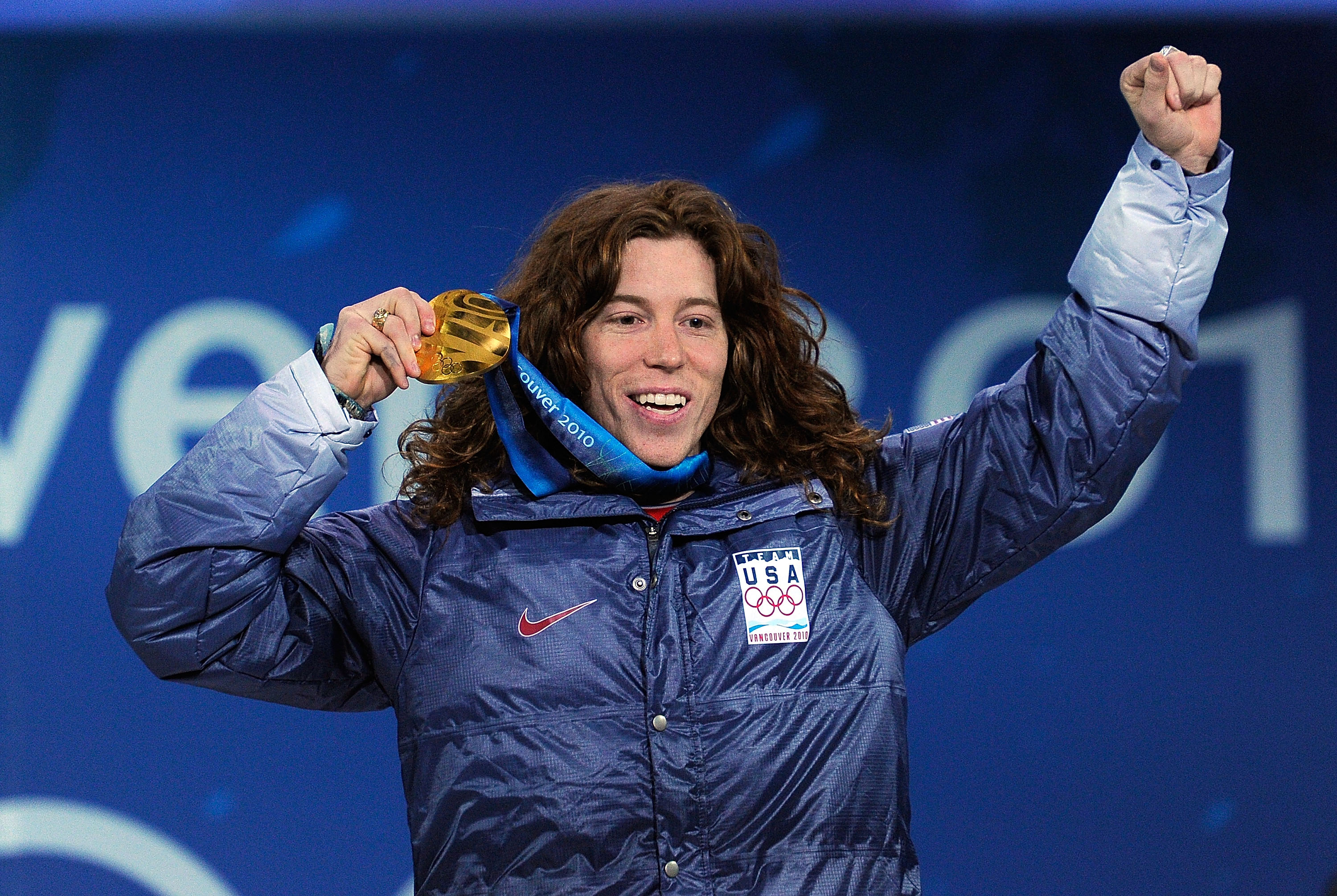 VANCOUVER, BC - FEBRUARY 18:  Shaun White of United States celebrates his gold medal during the medal ceremony for the Men�s Halfpipe on day 7 of the Vancouver 2010 Winter Olympics at BC Place on February 18, 2010 in Vancouver, Canada.  (Photo by Kevork D