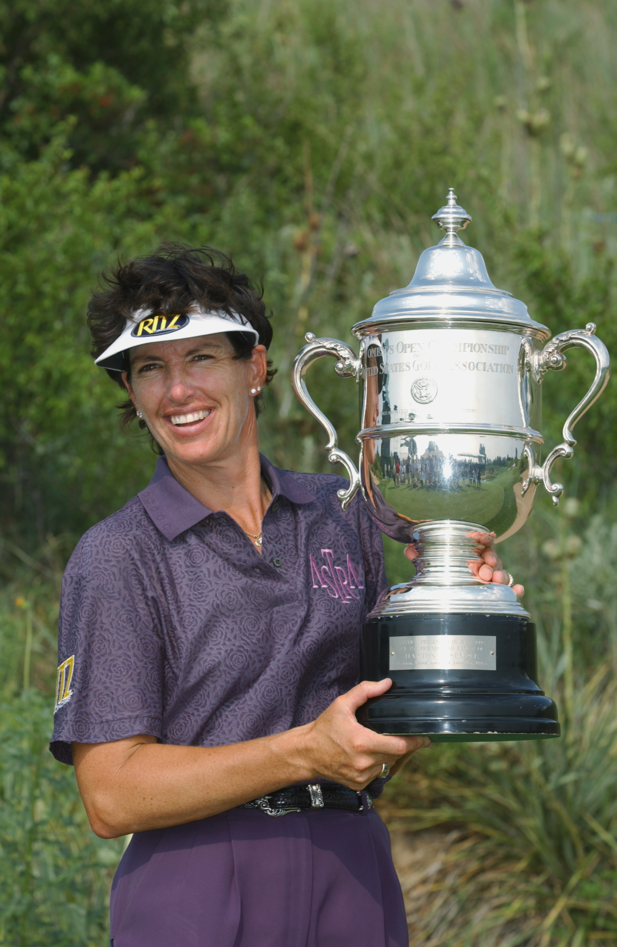 HUTCHISON, KS. - JULY 7:     Juli Inkster of USA poses with trophy after her victory during the final round of the U.S. Women's Open on July 7, 2002 at Prairie Dunes Country Club in Hutchison, Kansas.  (Photo By Harry How/Getty Images)