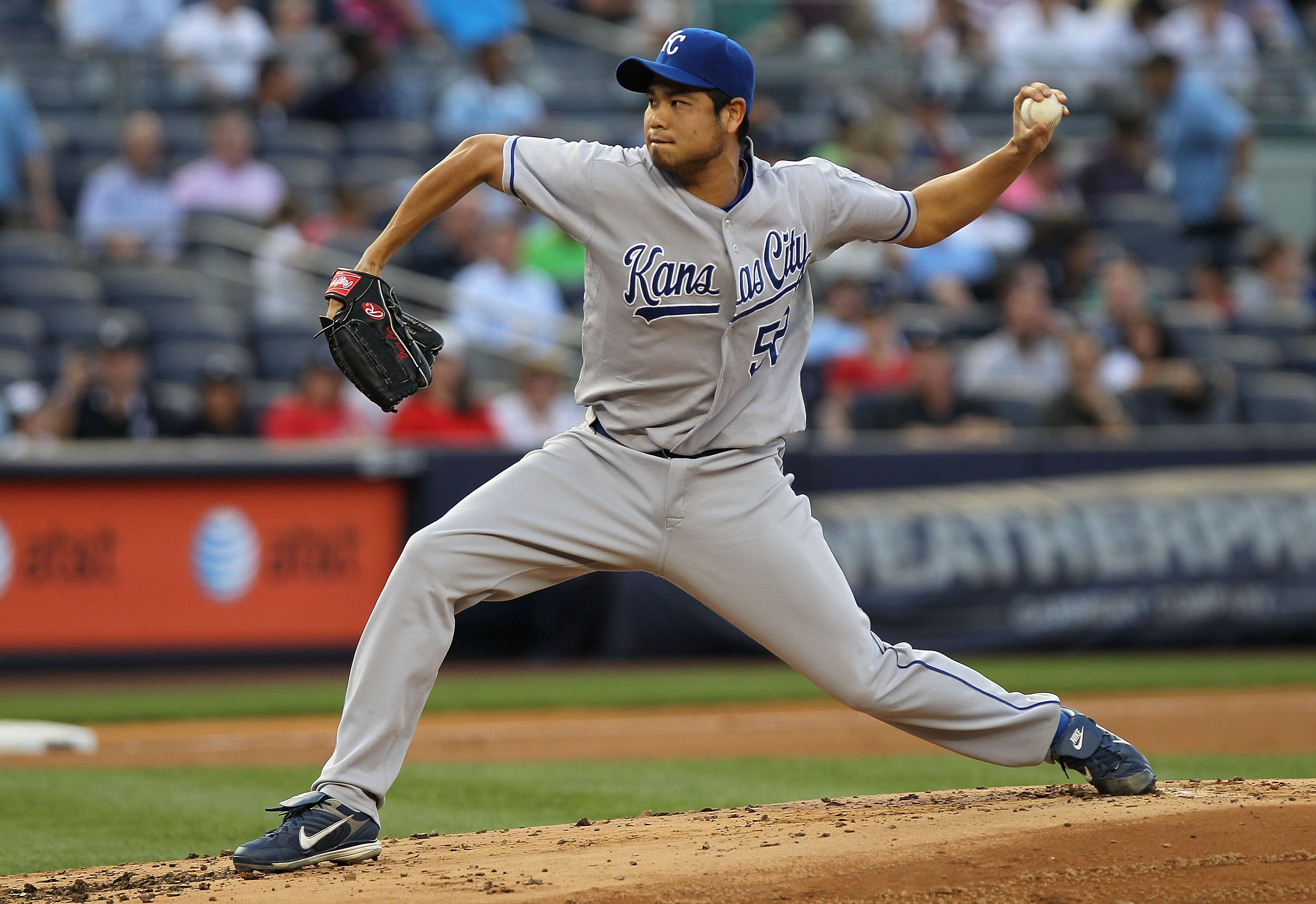 NEW YORK - JULY 22:  Bruce Chen #52 of the Kansas City Royals pitches against the New York Yankees at Yankee Stadium on July 22, 2010 in the Bronx borough of New York City.  (Photo by Nick Laham/Getty Images)