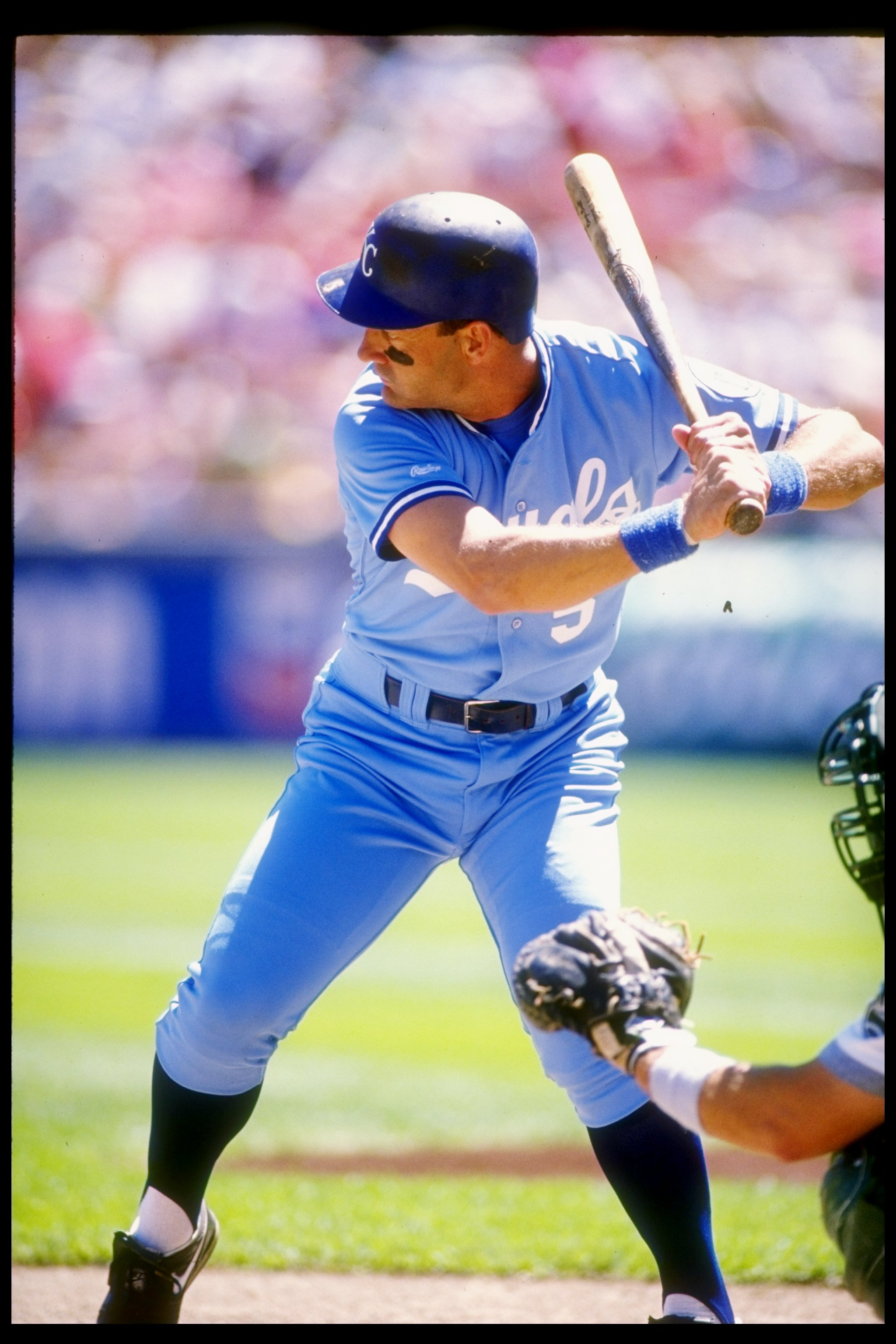 1990:  Infielder George Brett of the Kansas City Royals in action during a game at Royals Stadium in Kansas City, Missouri.  Mandatory Credit: Otto Greule  /Allsport