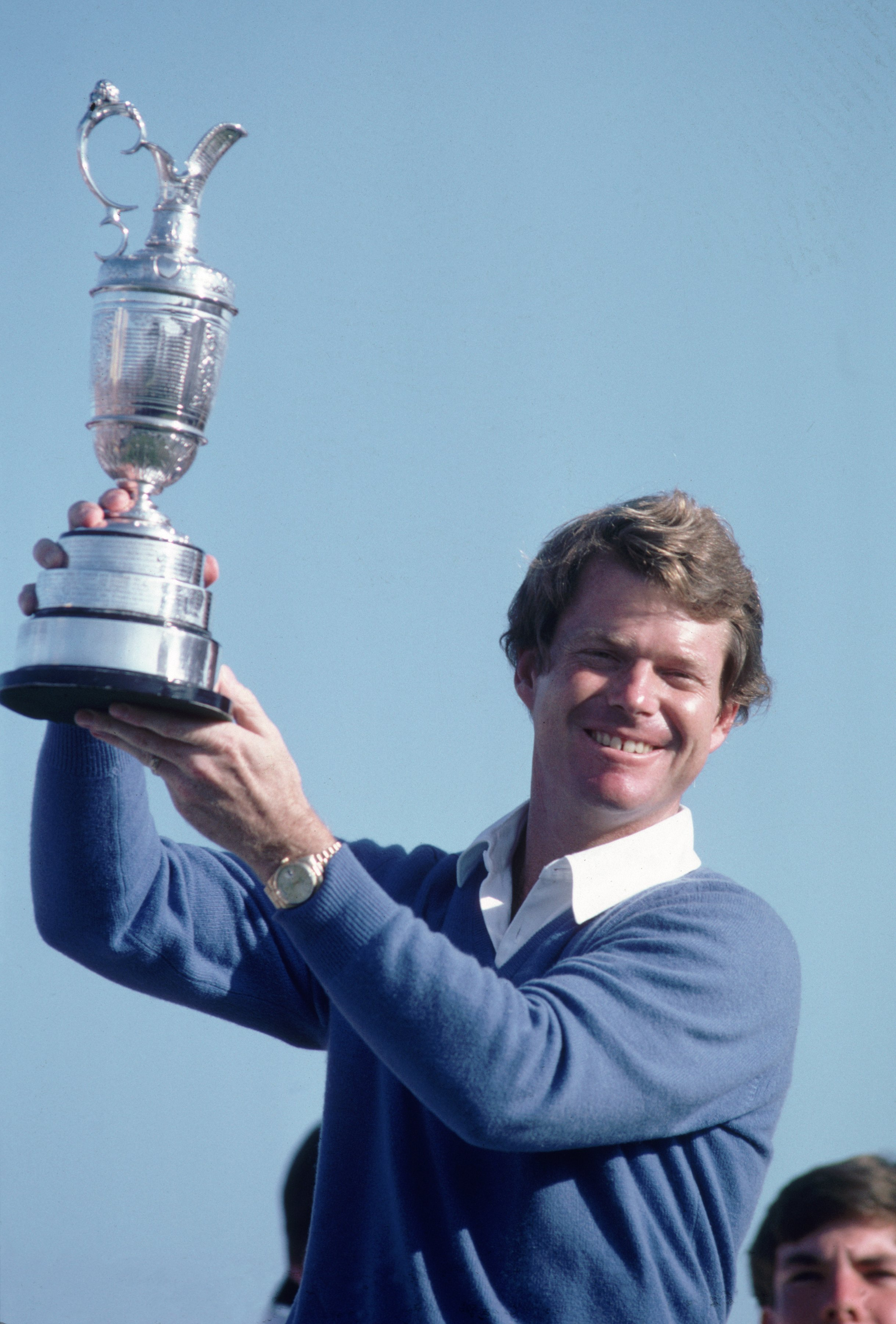 18 Jul 1982:  Tom Watson of the USA holds aloft the Claret Jug after winning the British Open played at Royal Troon in Scotland \ Mandatory Credit: Bob Martin /Allsport