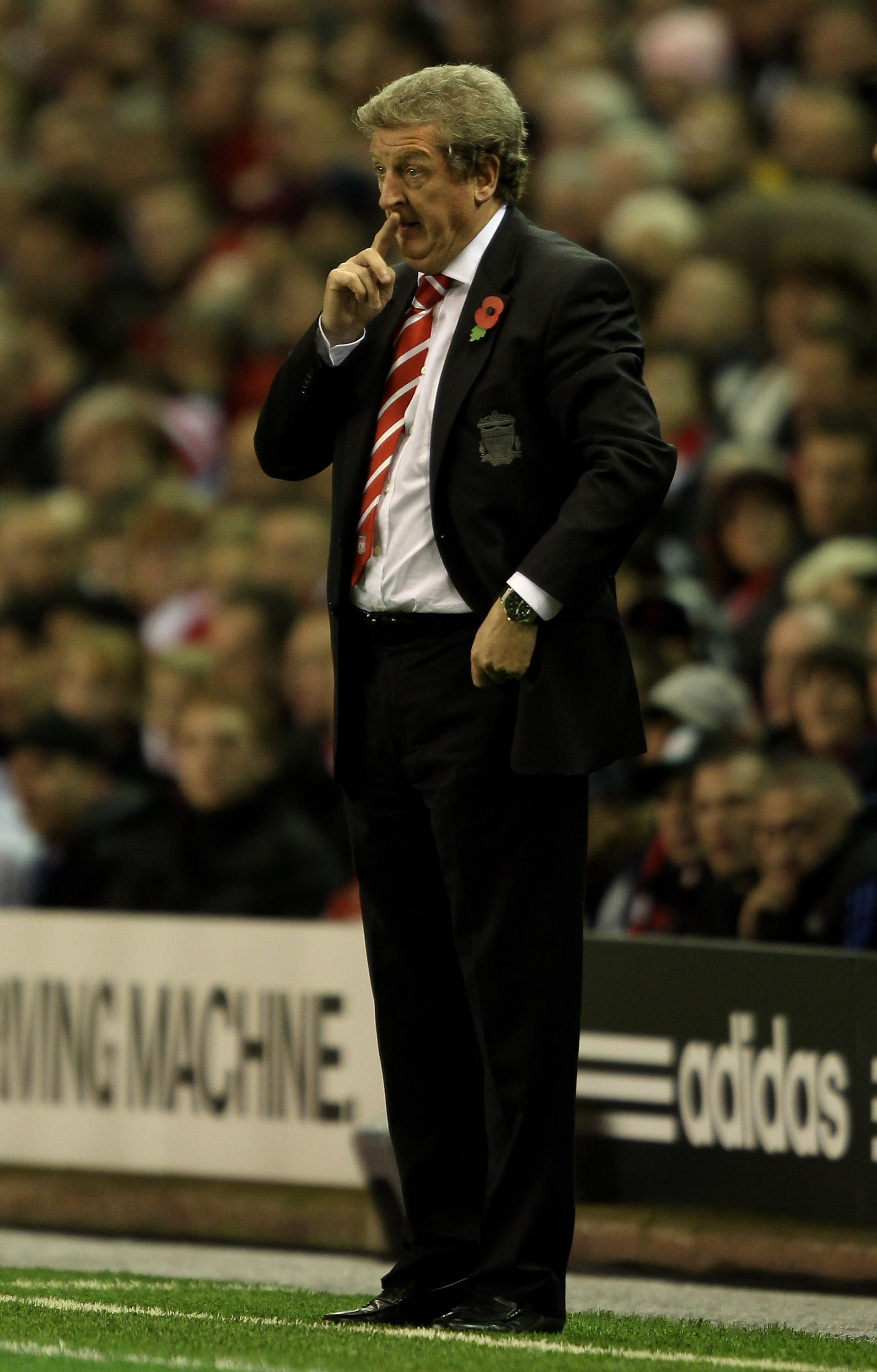 LIVERPOOL, ENGLAND - NOVEMBER 04:  Liverpool Manager Roy Hodgson reacts during the UEFA Europa League Group K match beteween Liverpool and SSC Napoli at Anfield on November 4, 2010 in Liverpool, England.  (Photo by Clive Brunskill/Getty Images)