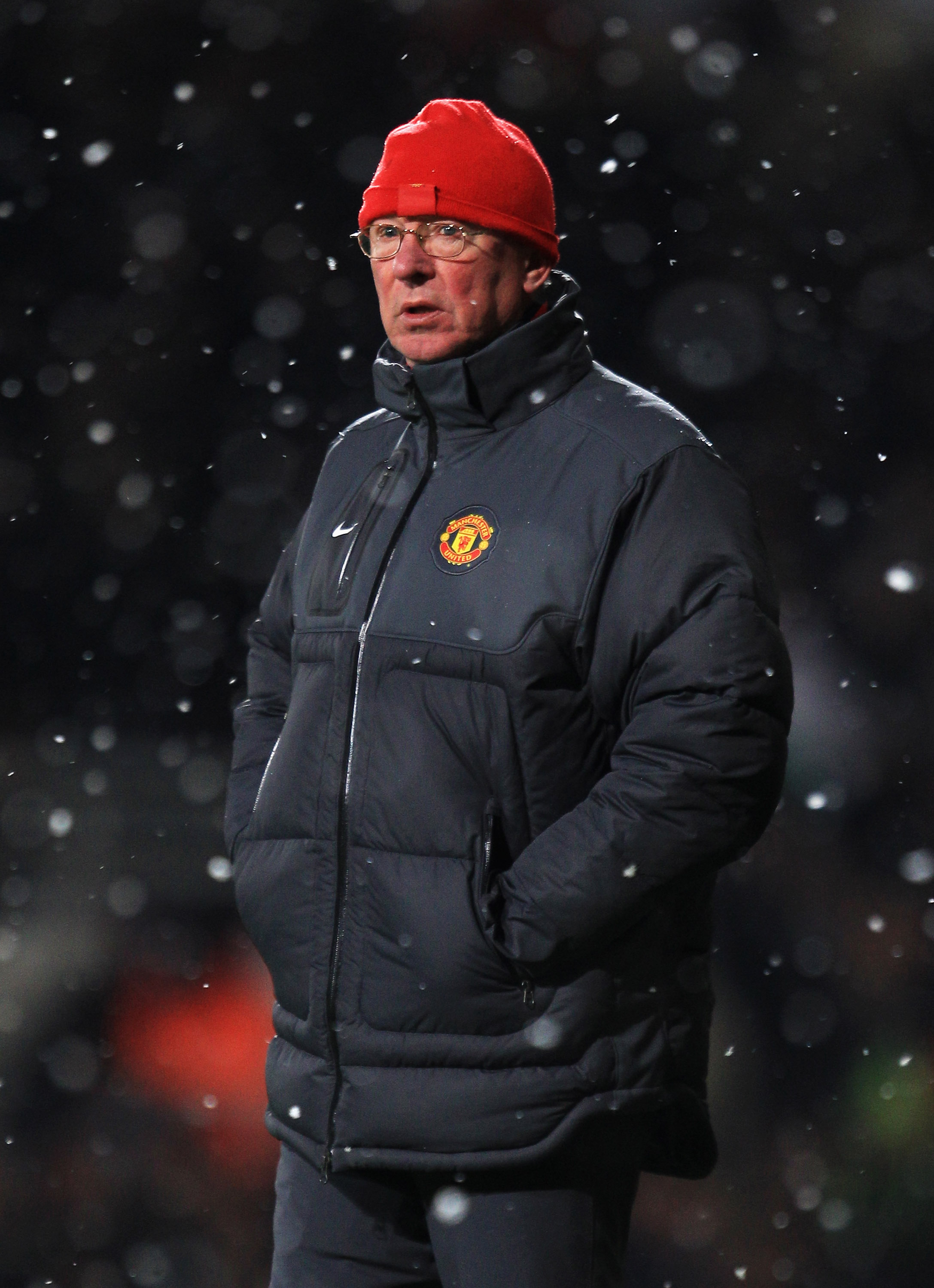 LONDON, ENGLAND - NOVEMBER 30:  Sir Alex Ferguson, manager of Manchester United looks on during the Carling Cup Quarter Final match between West Ham United and Manchester United at the Boleyn Ground on November 30, 2010 in London, England.  (Photo by Mark