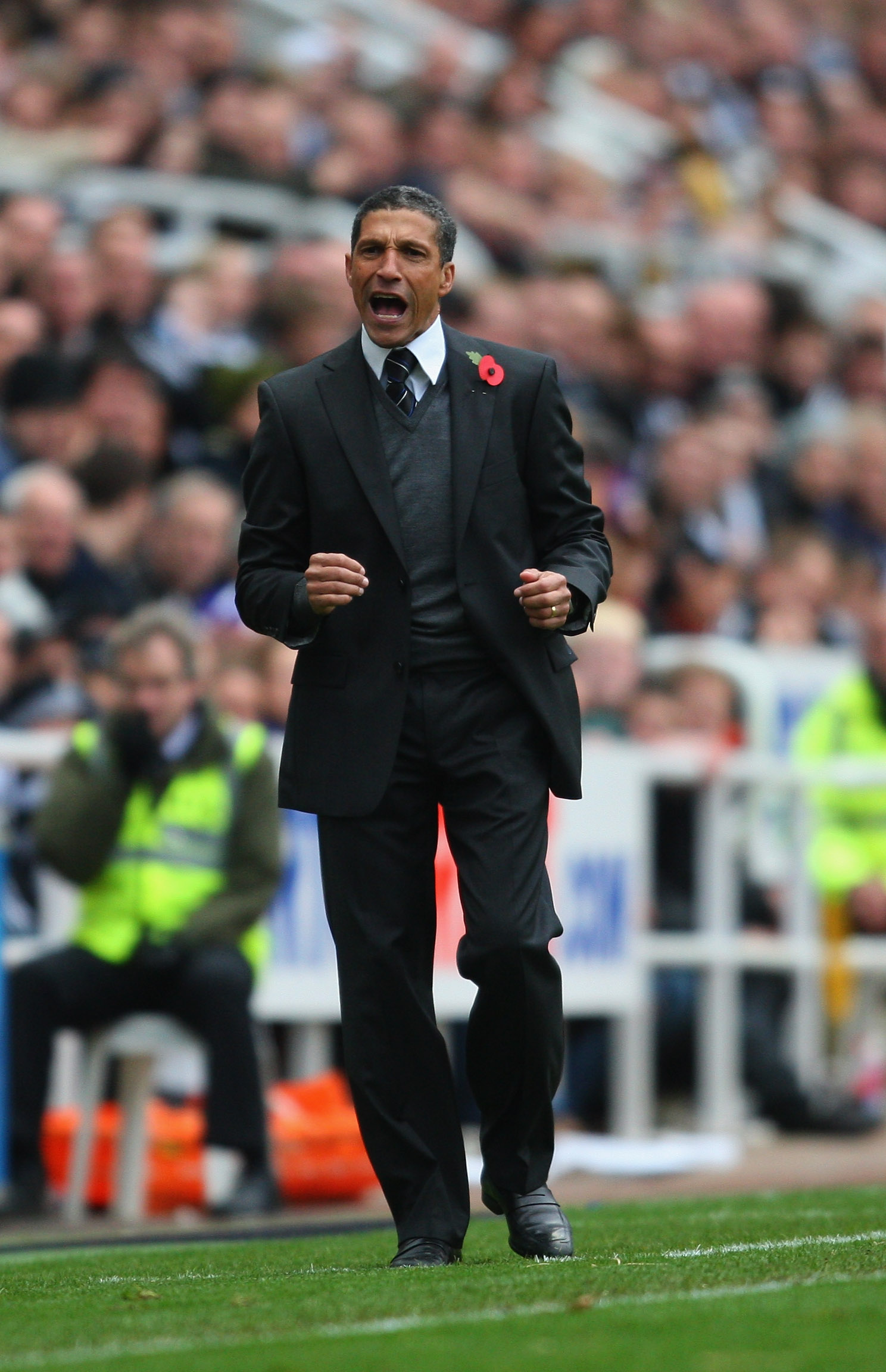 NEWCASTLE UPON TYNE, ENGLAND - OCTOBER 31:  Newcastle manager Chris Hughton reacts during the Barclays Premier League match between Newcastle United and Sunderland at St James' Park on October 31, 2010 in Newcastle upon Tyne, England.  (Photo by Stu Forst