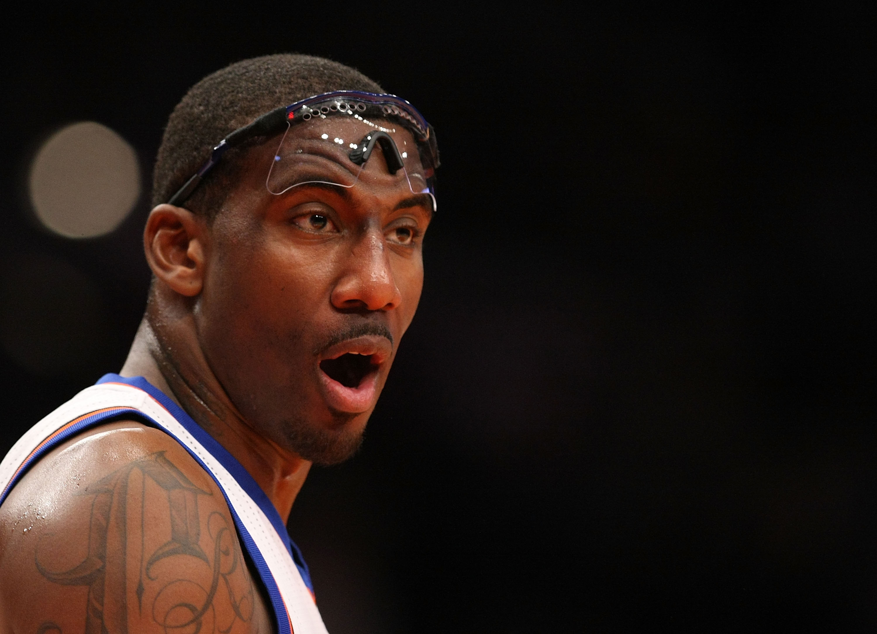 NEW YORK - DECEMBER 17:  Amar'e Stoudemire #1 of the New York Knicks looks on against  the Miami Heat at Madison Square Garden on December 17, 2010 in New York City. NOTE TO USER: User expressly acknowledges and agrees that, by downloading and or using th