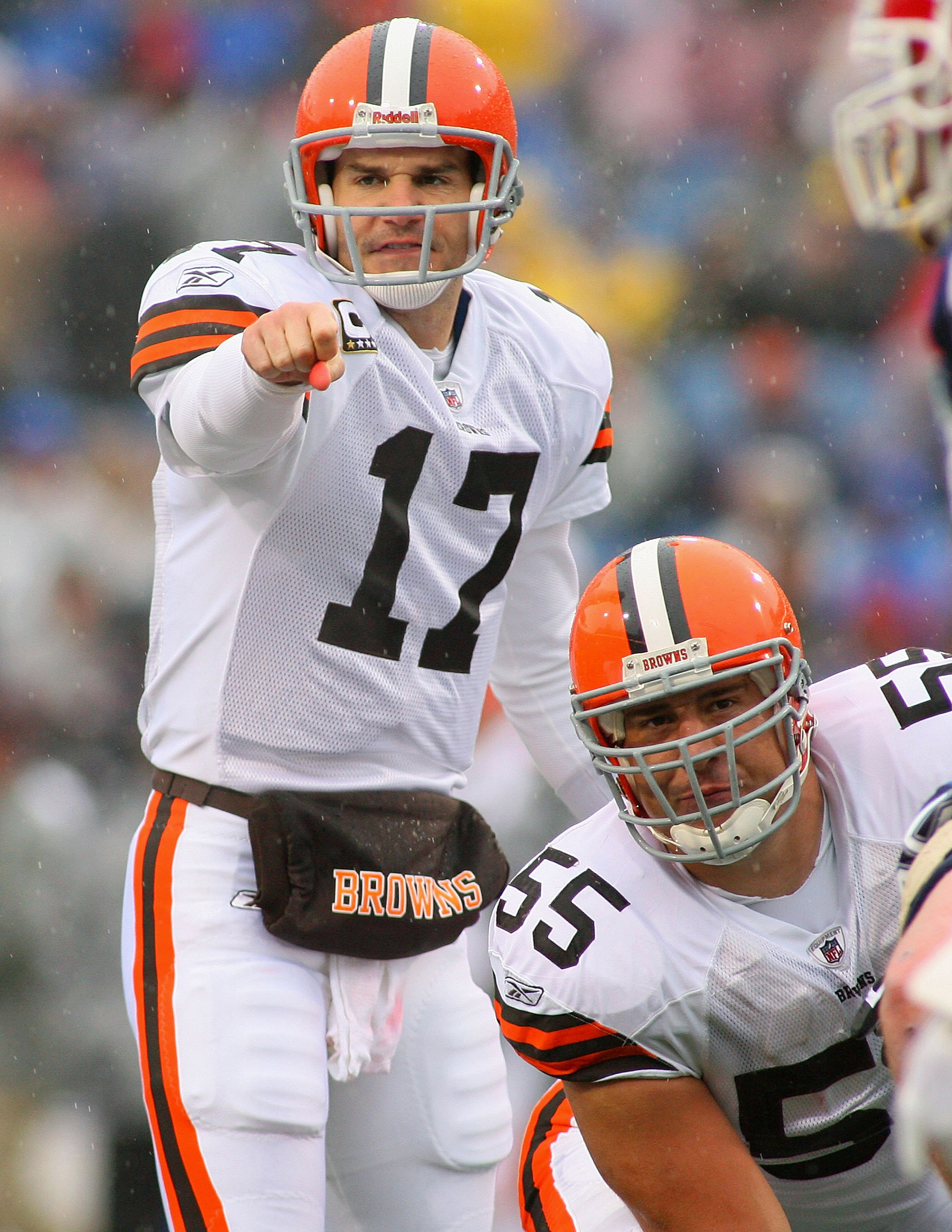 ORCHARD PARK, NY - DECEMBER 12:  Jake Delhomme #17 and Alex Mack #55 of the Cleveland Browns call signals against the Buffalo Bills  at Ralph Wilson Stadium on December 12, 2010 in Orchard Park, New York.  (Photo by Rick Stewart/Getty Images)