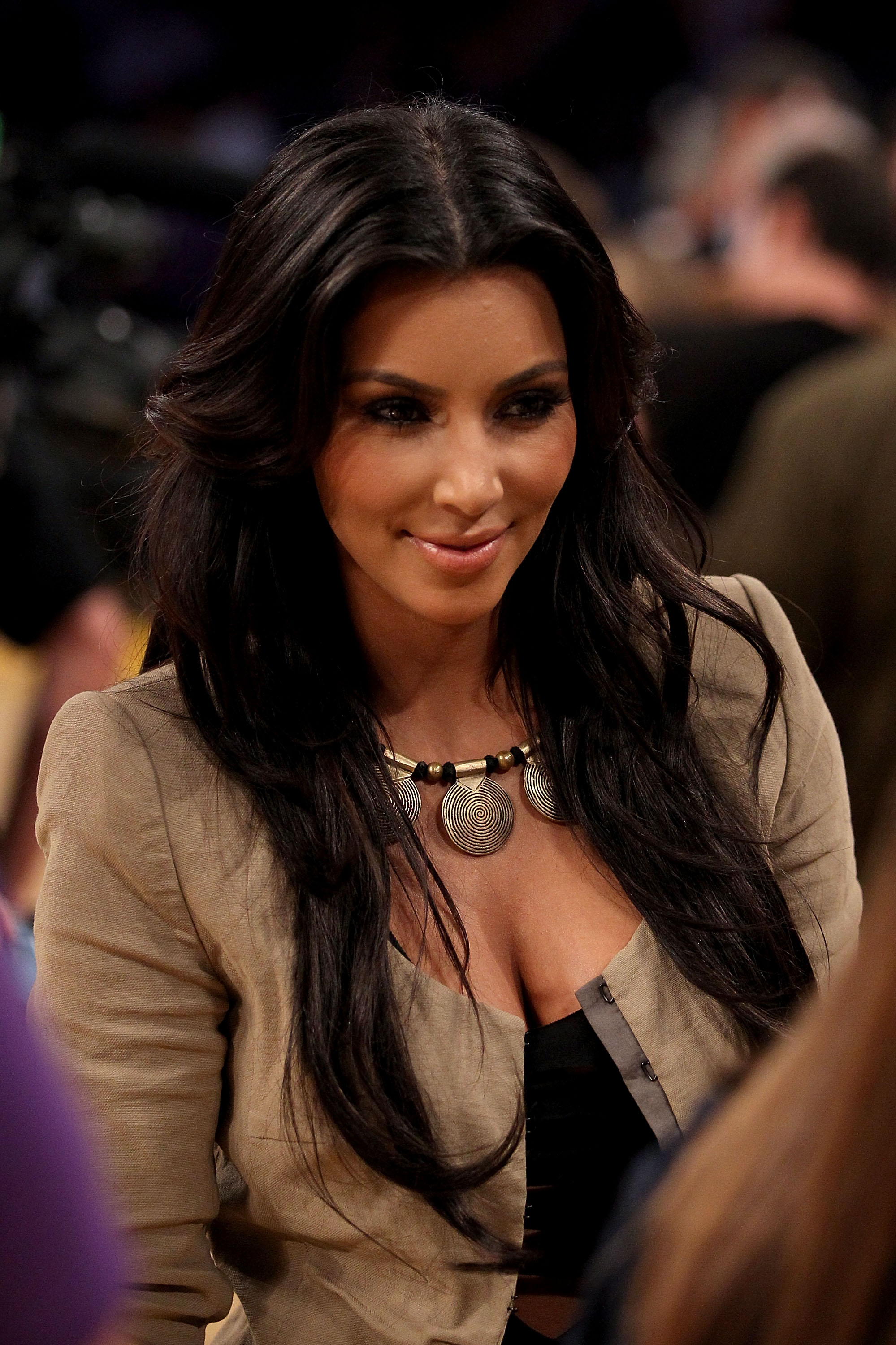 LOS ANGELES, CA - JUNE 17:  Kim Kardashian on the court during halftime of Game Seven of the 2010 NBA Finals at Staples Center between the Boston Celtics and the Los Angeles Lakers on June 17, 2010 in Los Angeles, California.  NOTE TO USER: User expressly