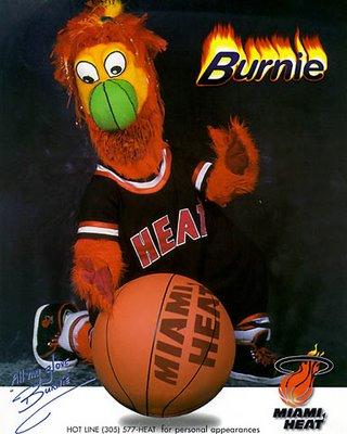 Photo courtesy http://basketballmascots.blogspot.com/2009/06/miami-heat-burnie-mascot-pictures.html