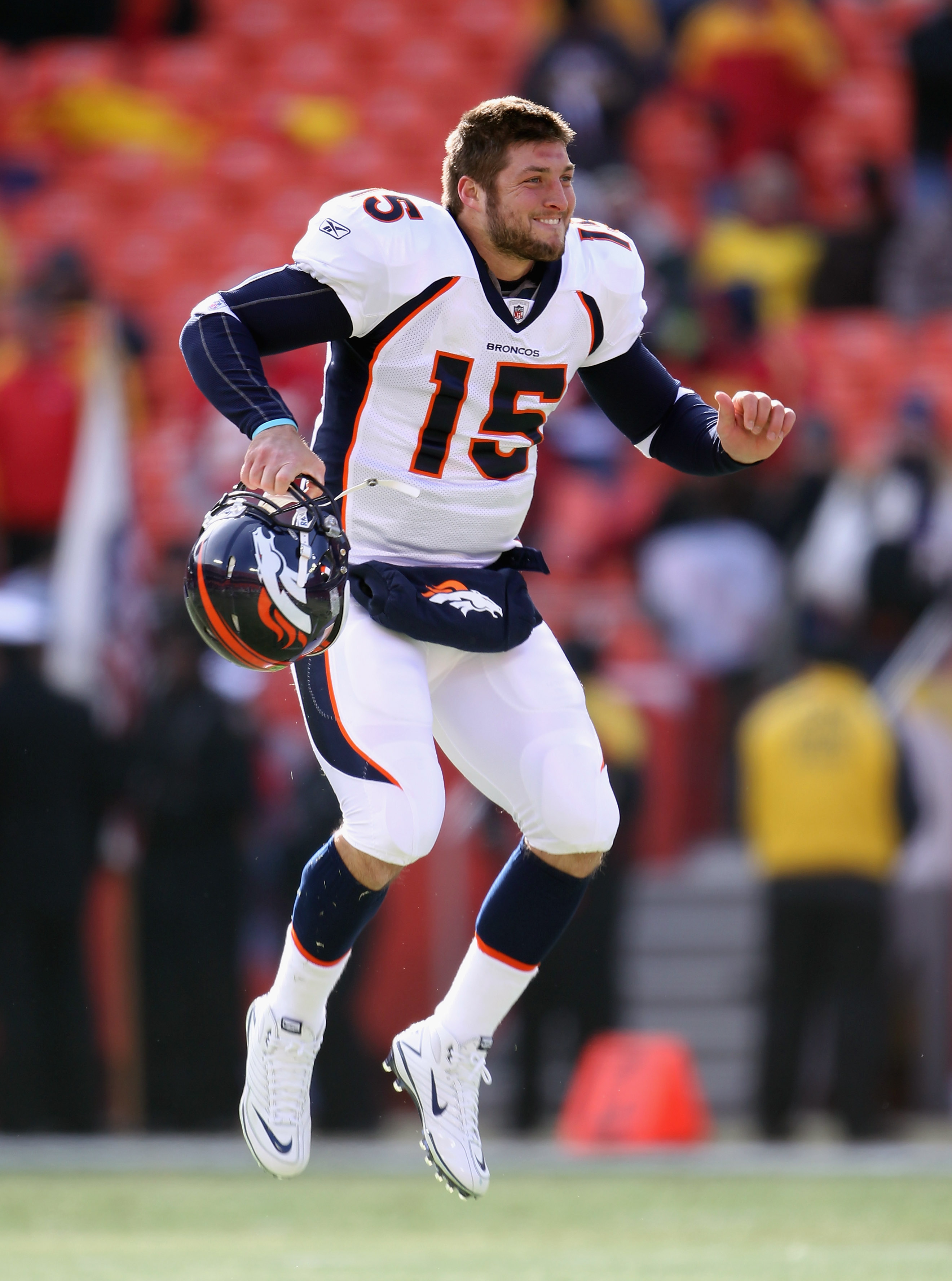 KANSAS CITY, MO - DECEMBER 05:  Quarterback Tim Tebow #15 of the Denver Broncos during warm-ups prior to the start of the game against the Kansas City Chiefs on December 5, 2010 at Arrowhead Stadium in Kansas City, Missouri.  (Photo by Jamie Squire/Getty