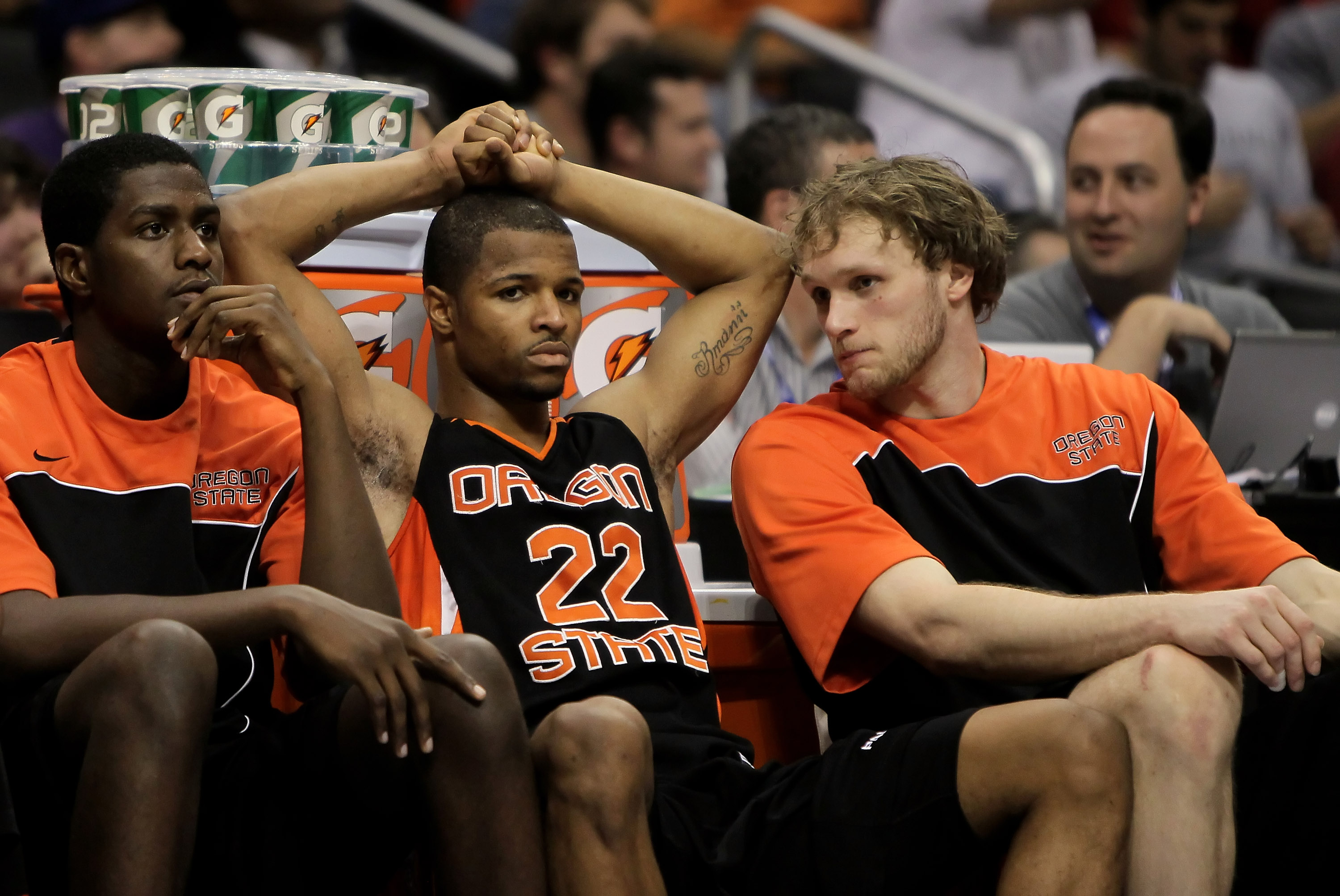 LOS ANGELES, CA - MARCH 11:  Calvin Haynes (center) #22 of the Oregon State Beavers is dejected against the Washington Huskies during the Quarterfinals of the Pac-10 Basketball Tournament at Staples Center on March 11, 2010 in Los Angeles, California. Was