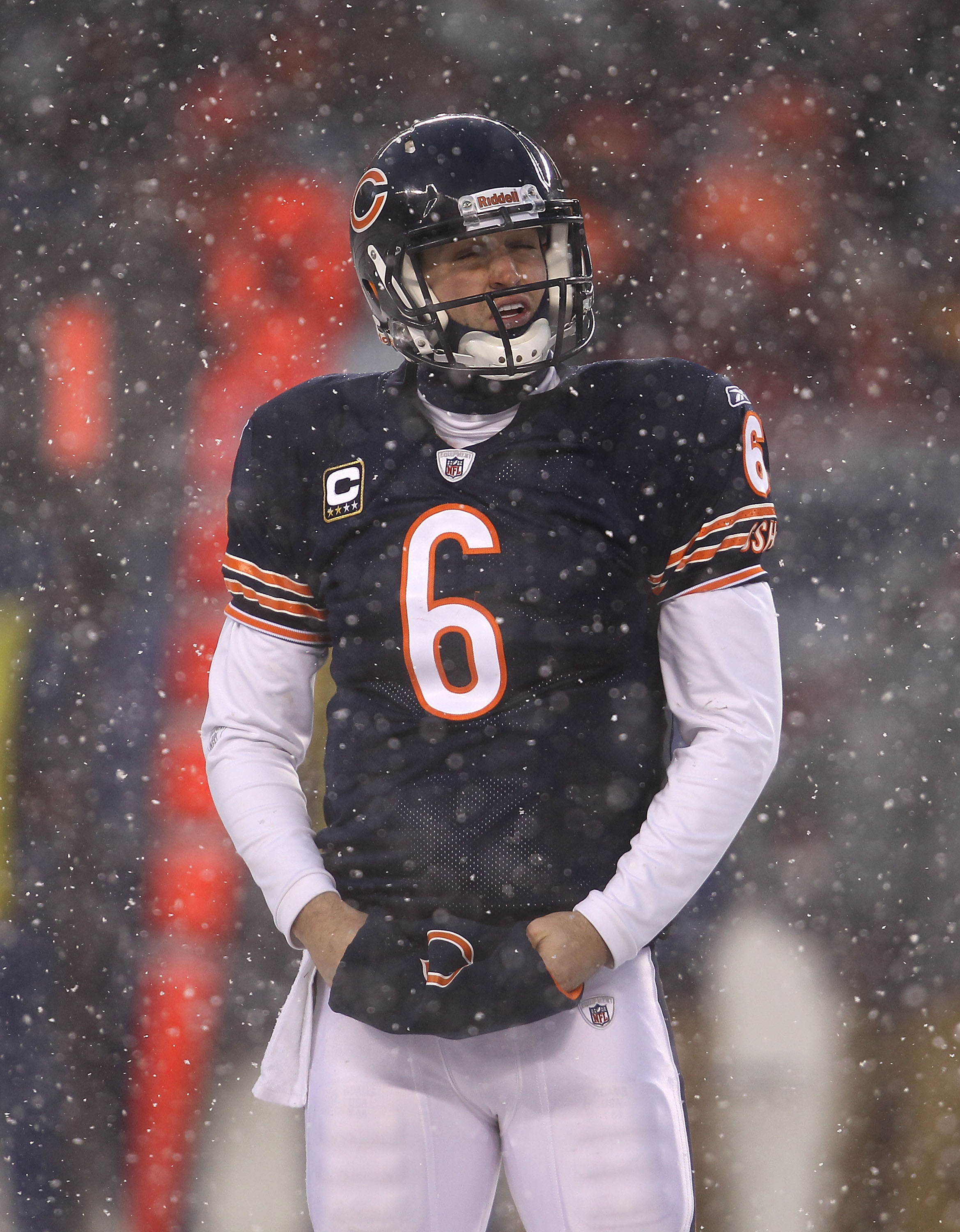 CHICAGO, IL - DECEMBER 12: Jay Cutler #6 of the Chicago Bears reacts after a player from the New England Patriots runs a fumbled ball into the end zone for a touchdown at Soldier Field on December 12, 2010 in Chicago, Illinois. The Patriots defeated the B