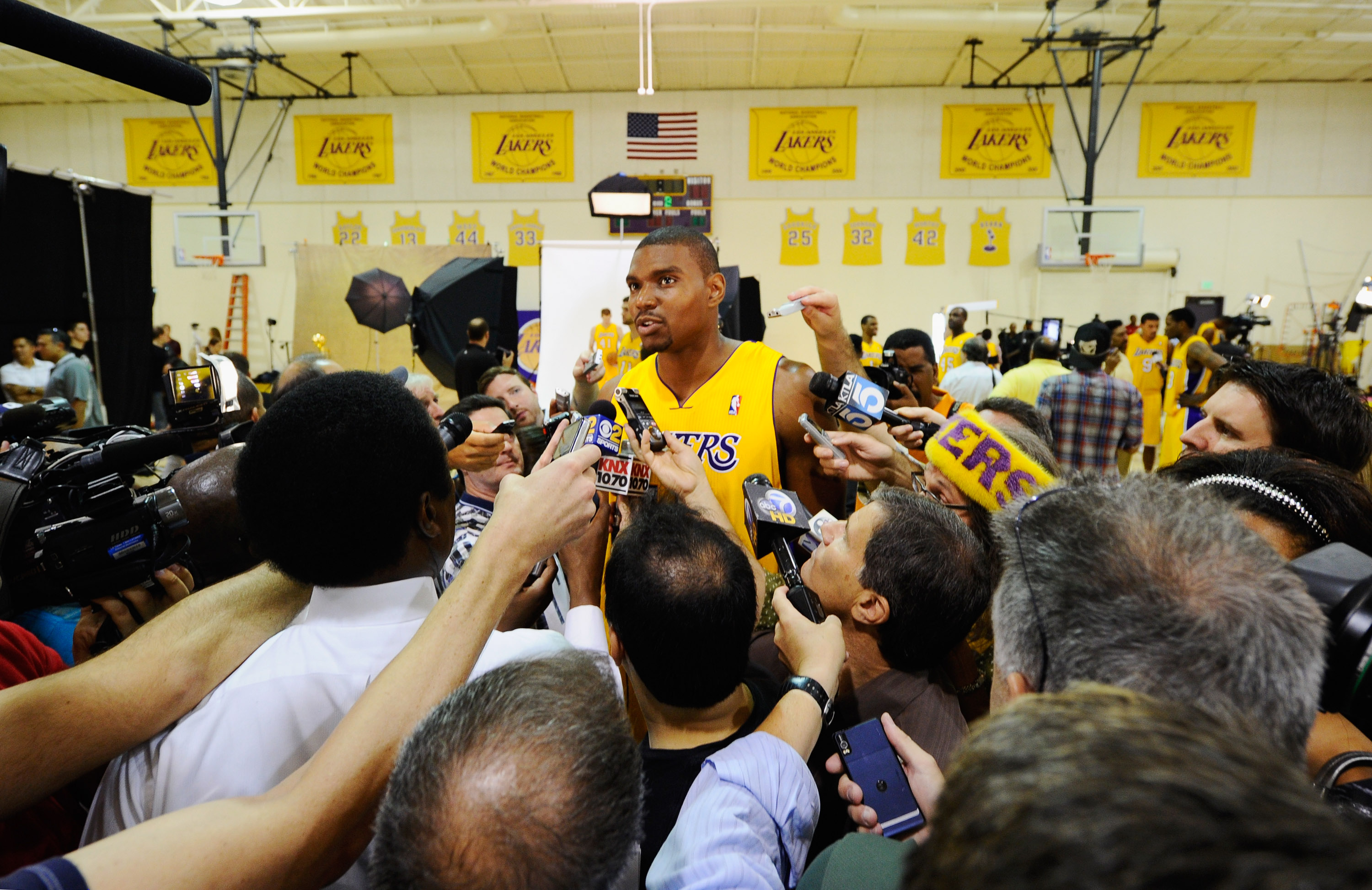 EL SEGUNDO, CA - SEPTEMBER 25:  Andrew Bynum #17 of the Los Angeles Lakers speaks to reporters at a news conference during Media Day at the Toyota Center on September 25, 2010 in El Segundo, California. NOTE TO USER: User expressly acknowledges and agrees