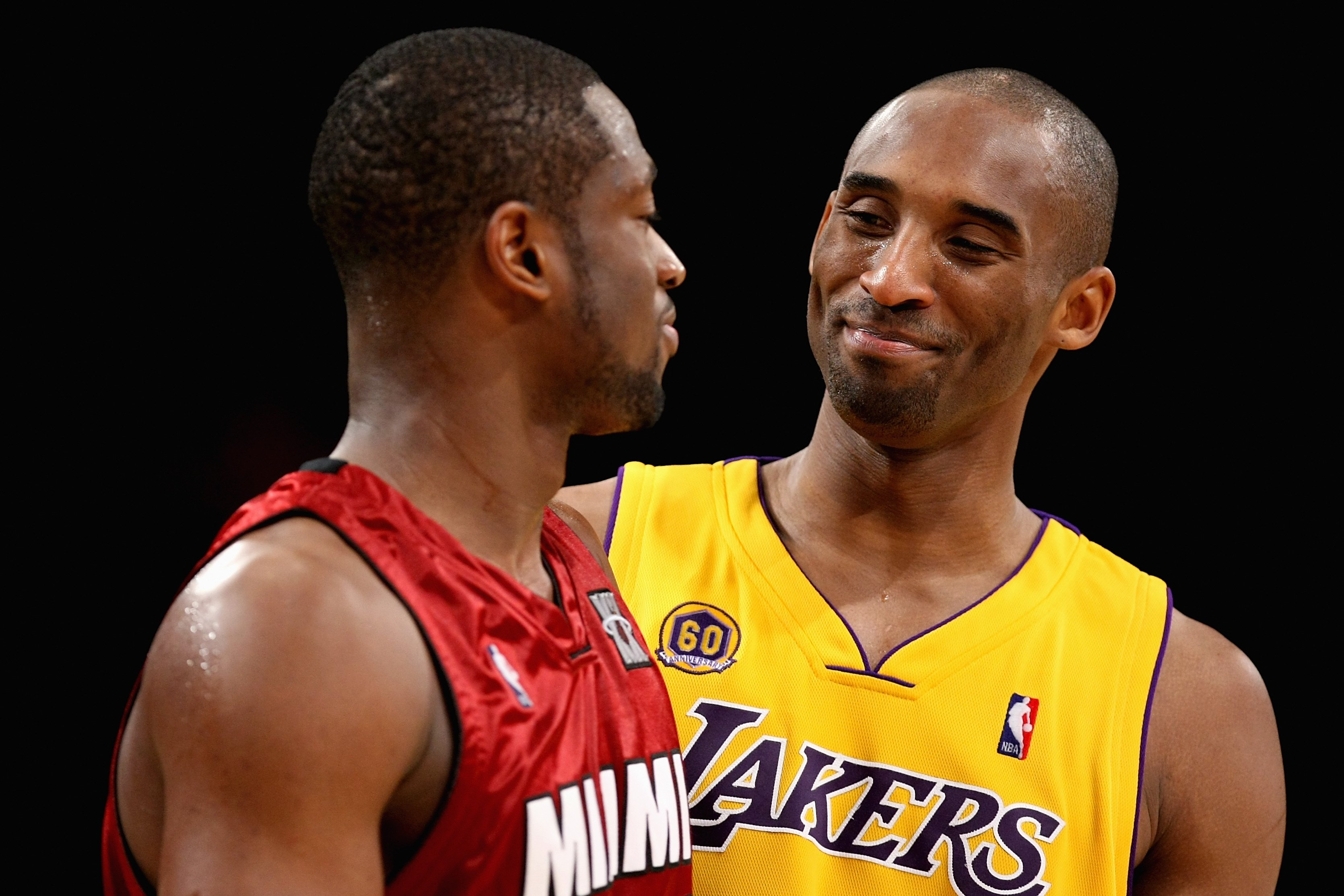 LOS ANGELES - FEBRUARY 28:  Kobe Bryant #24 of the Los Angeles Lakers shares a laugh with Dwyane Wade #3 of the Miami Heat during the game on February 28, 2008 at Staples Center in Los Angeles, California.  The Lakers won 106-88. NOTE TO USER: User expres