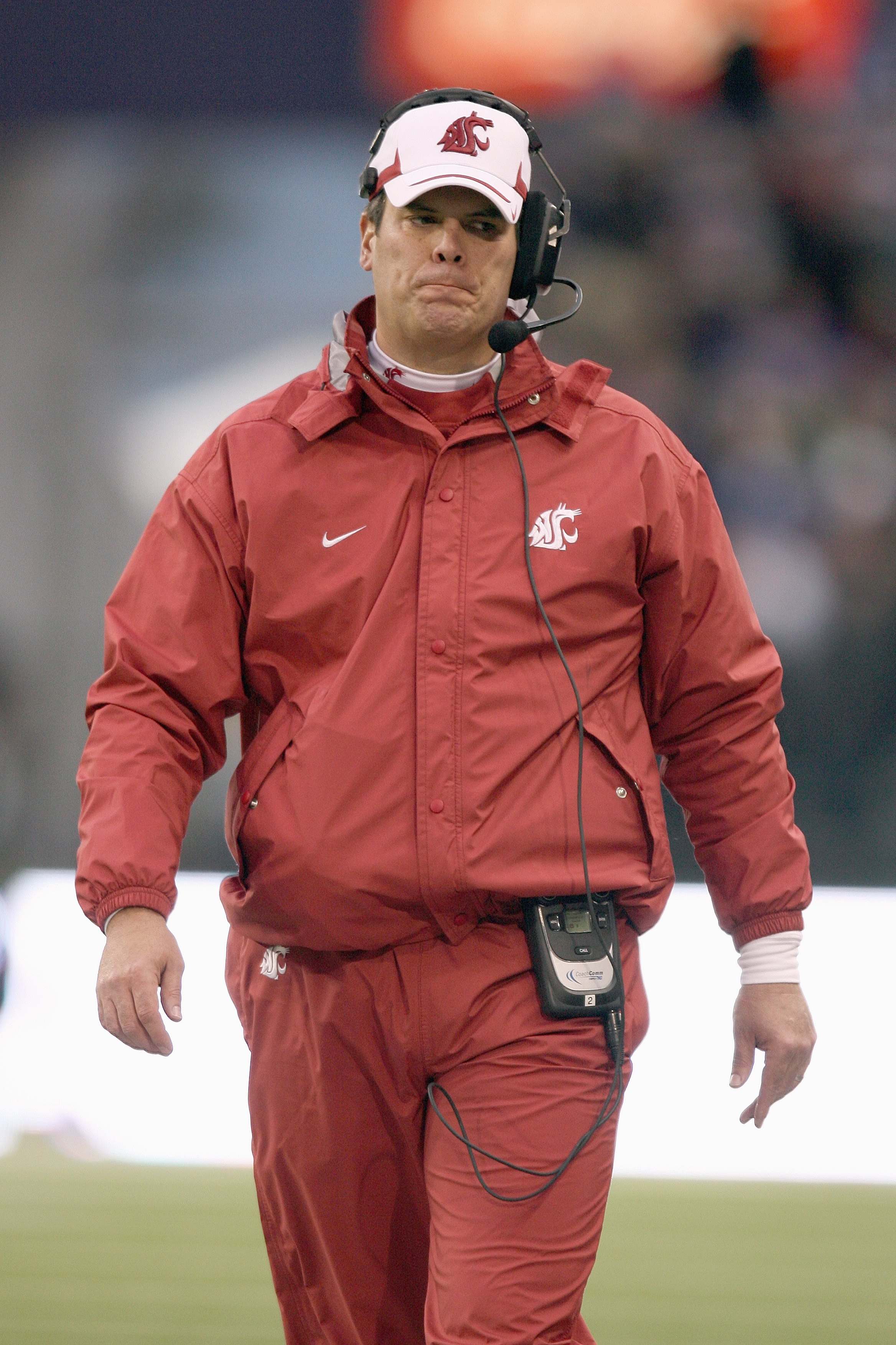 SEATTLE - NOVEMBER 28: Head coach Paul Wulff of the Washington State Cougars walks on the field during the game against the Washington Huskies on November 28, 2009 at Husky Stadium in Seattle, Washington. The Huskies defeated the Cougars 30-0. (Photo by O