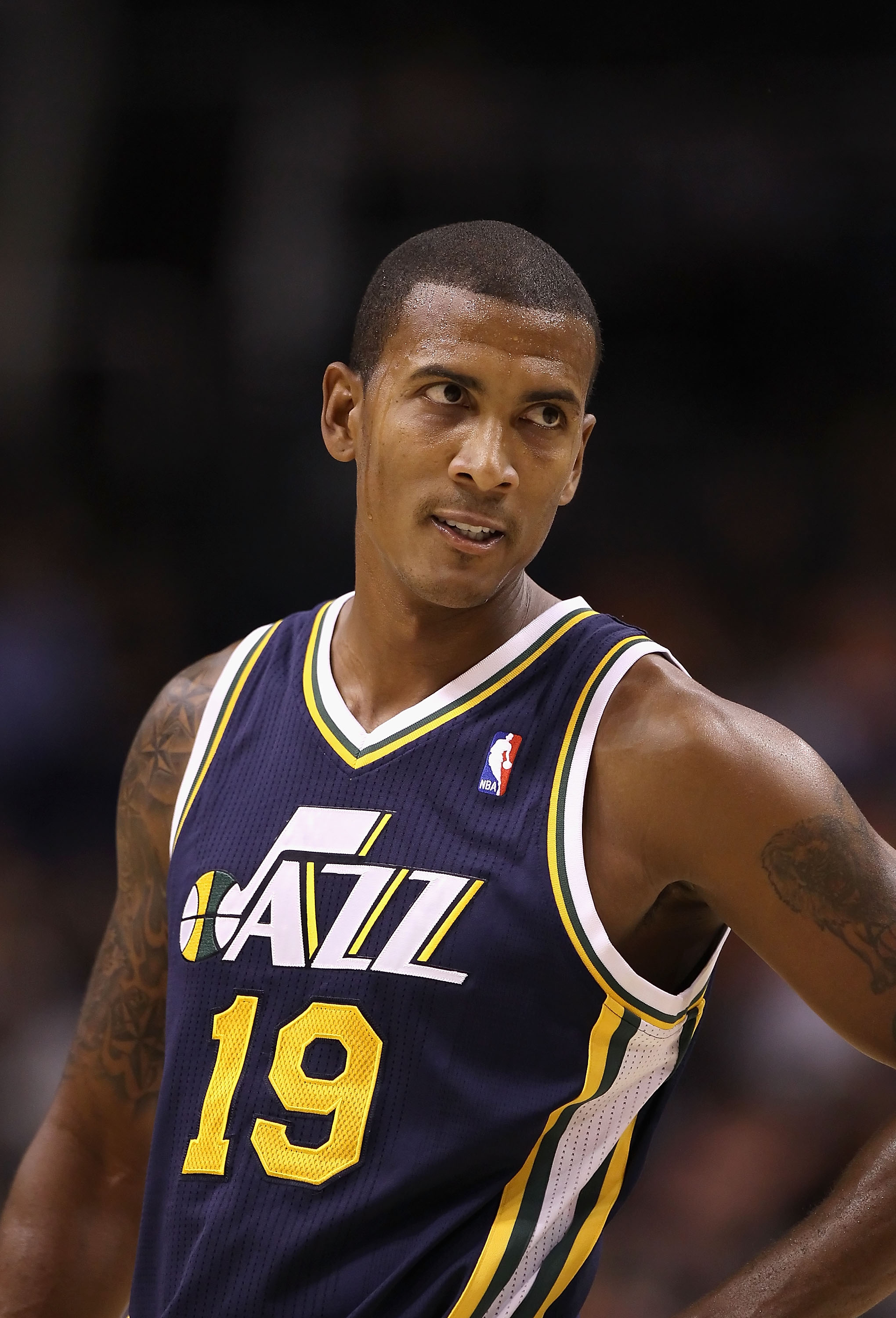 PHOENIX - OCTOBER 12:  Raja Bell #19 of the Utah Jazz in action during the preseason NBA game against the Phoenix Suns at US Airways Center on October 12, 2010 in Phoenix, Arizona. NOTE TO USER: User expressly acknowledges and agrees that, by downloading