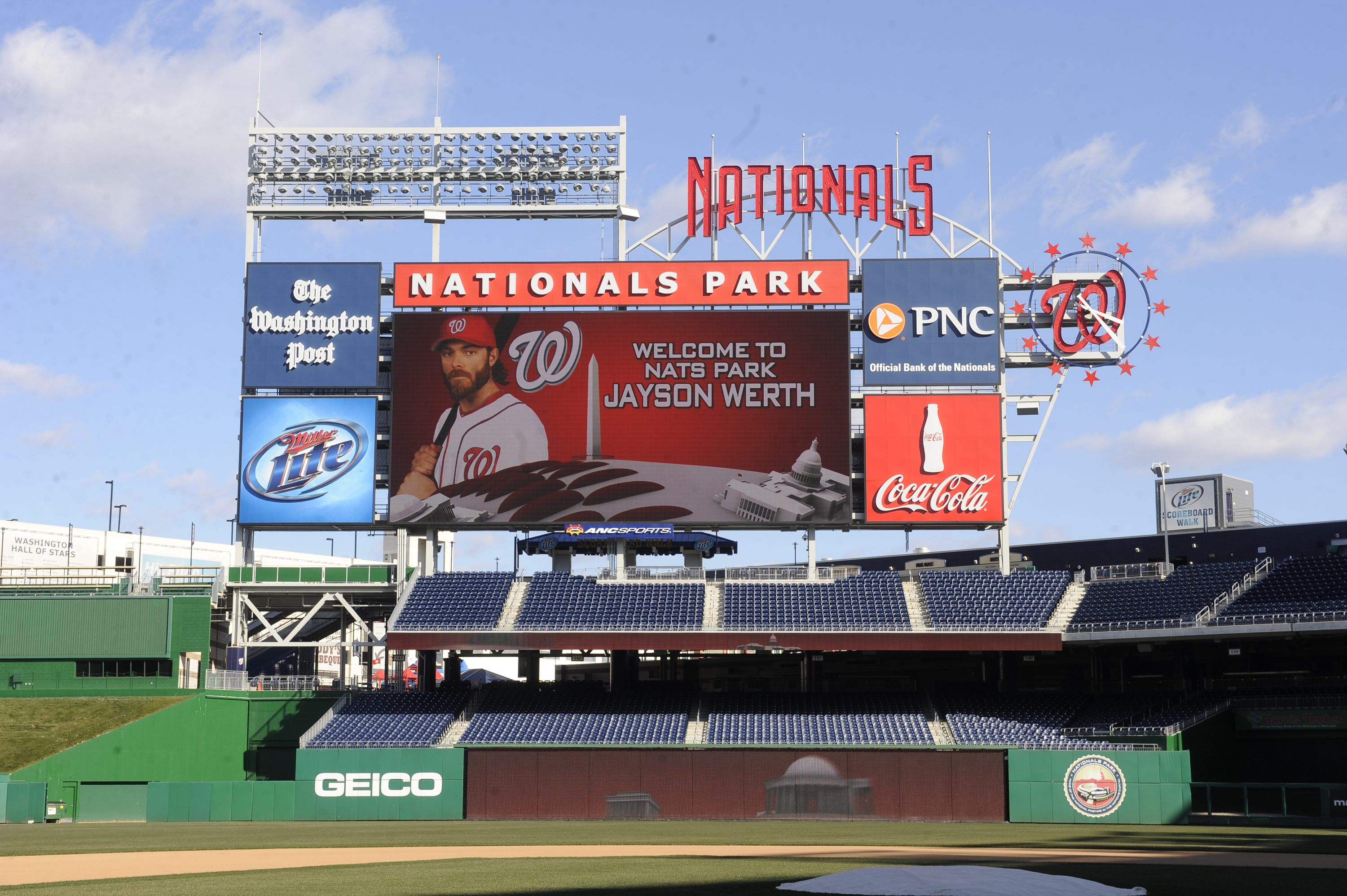 WASHINGTON, DC - DECEMBER 15:  A photo of Jayson Werth #28 of the Washington Nationals is displayed on a screen while he is introduced to the media on December 15, 2010 at Nationals Park in Washington, DC.  (Photo by Mitchell Layton/Getty Images)