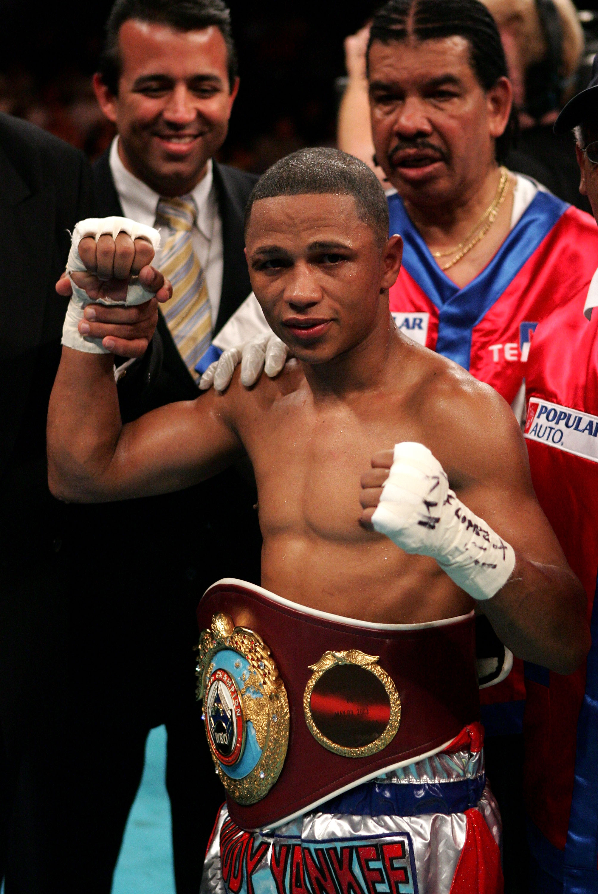 ATLANTIC CITY, NJ - JUNE 25:  Ivan Calderon of Puerto Rico poses after defeating Gerardo Verde of Mexico as he remains the WBO Minimumweight Champion at Boardwalk Hall on June 25, 2005 in Atlantic City, New Jersey.  (Photo by Al Bello/Getty Images)