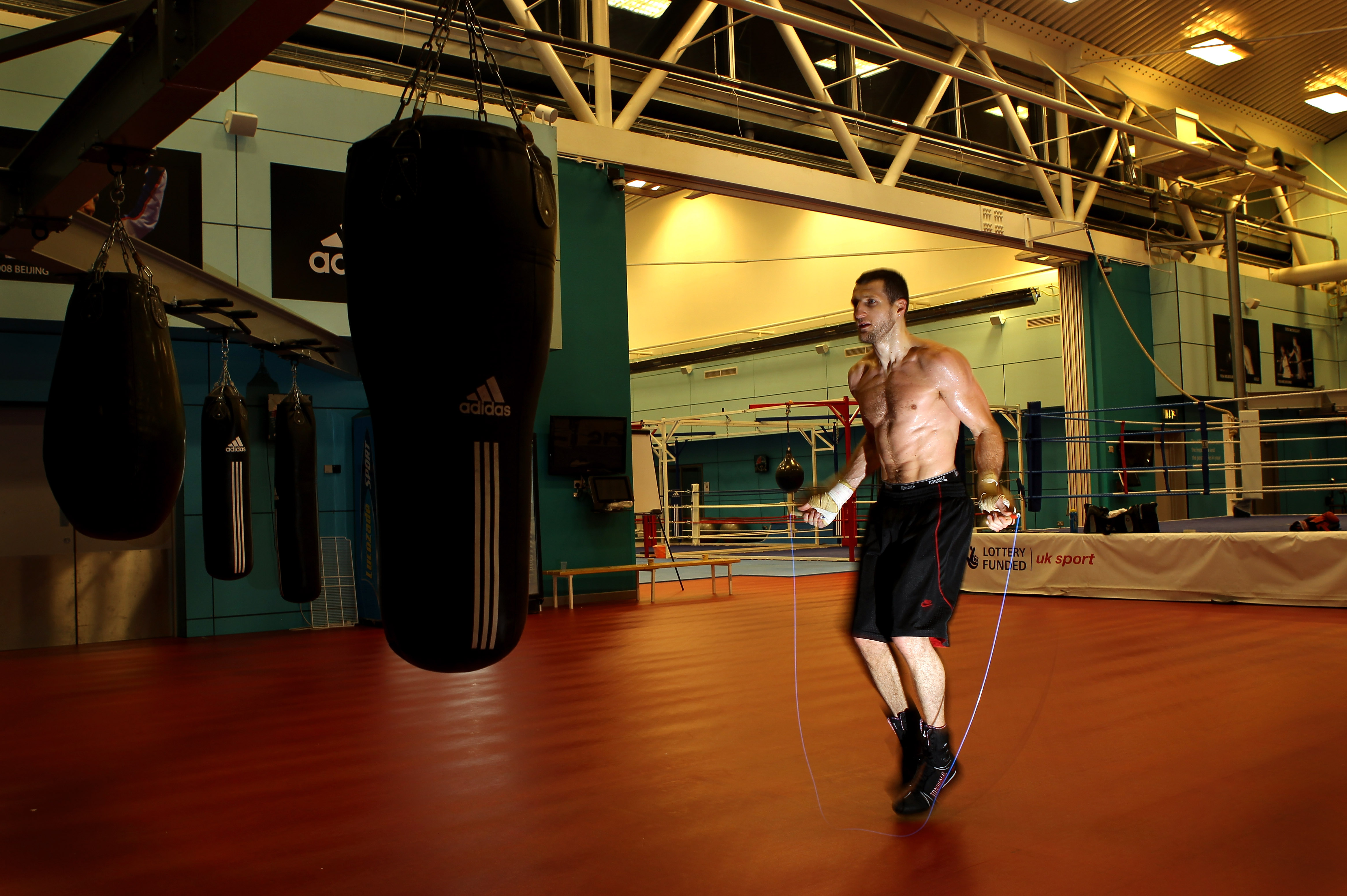 SHEFFIELD, ENGLAND - NOVEMBER 17:  Carl Froch works out with a skipping rope during a media training day ahead of his Super Six fight against Arthur Abraham at the English Institute of Sport on November 17, 2010 in Sheffield, England.  (Photo by Alex Live