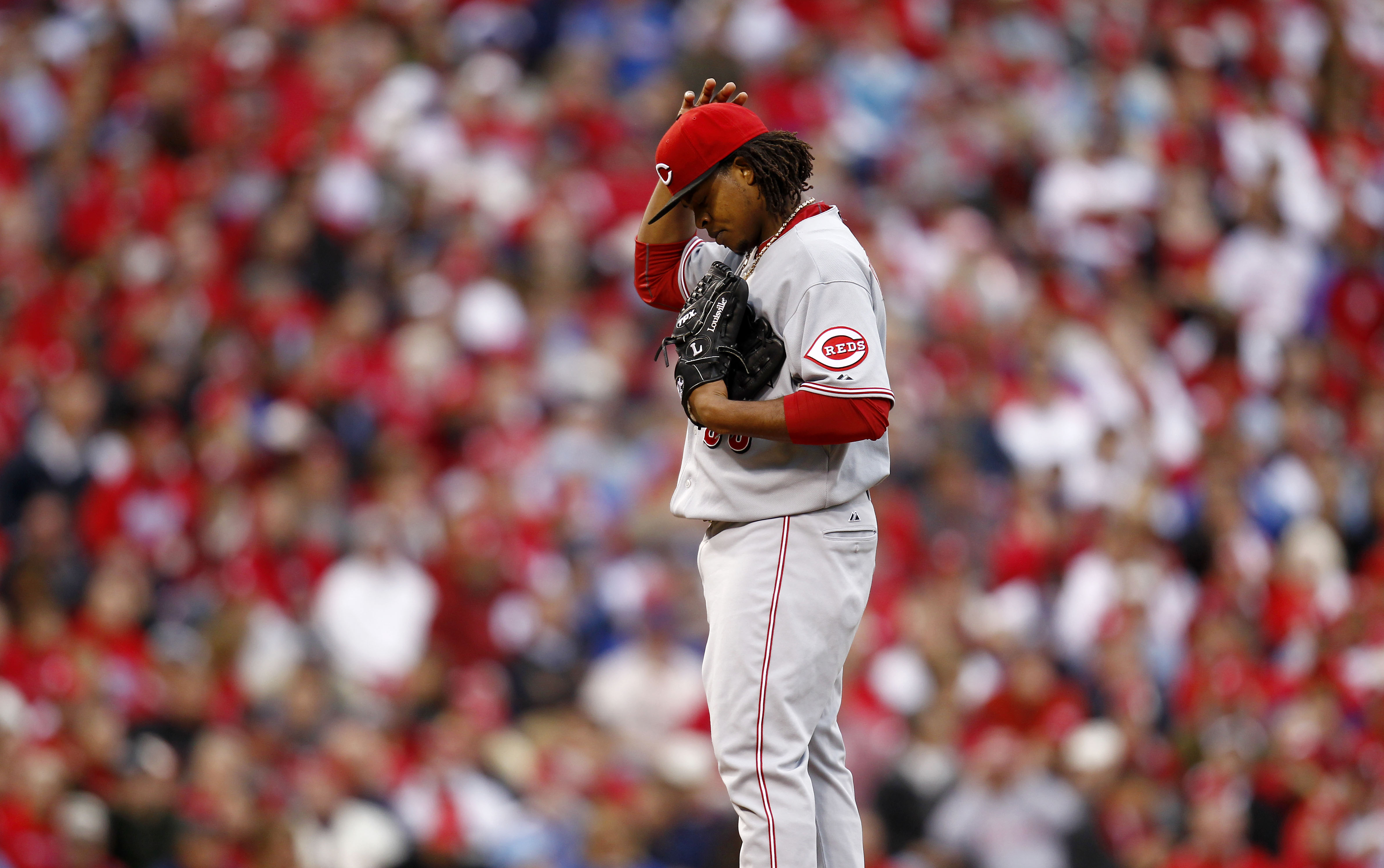PHILADELPHIA - OCTOBER 06:  Edinson Volquez #36 of the Cincinnati Reds reacts in Game 1 of the NLDS against the Philadelphia Phillies at Citizens Bank Park on October 6, 2010 in Philadelphia, Pennsylvania.  (Photo by Jeff Zelevansky/Getty Images)