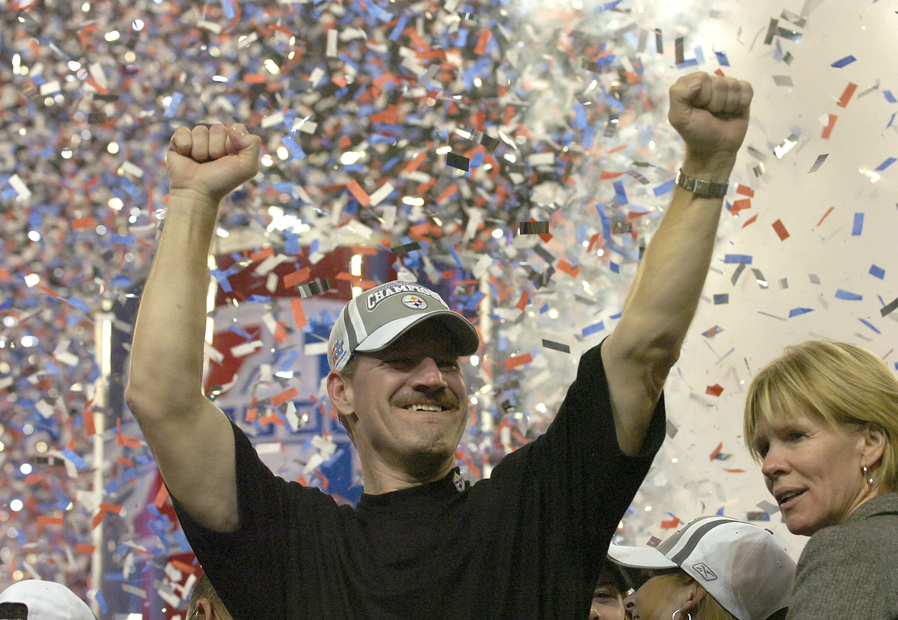 Steelers head coach Bill Cowher celebrates after the Steelers won Super Bowl XL between the Pittsburgh Steelers and Seattle Seahawks at Ford Field in Detroit, Michigan on February 5, 2006.  (Photo by Al Messerschmidt/Getty Images)