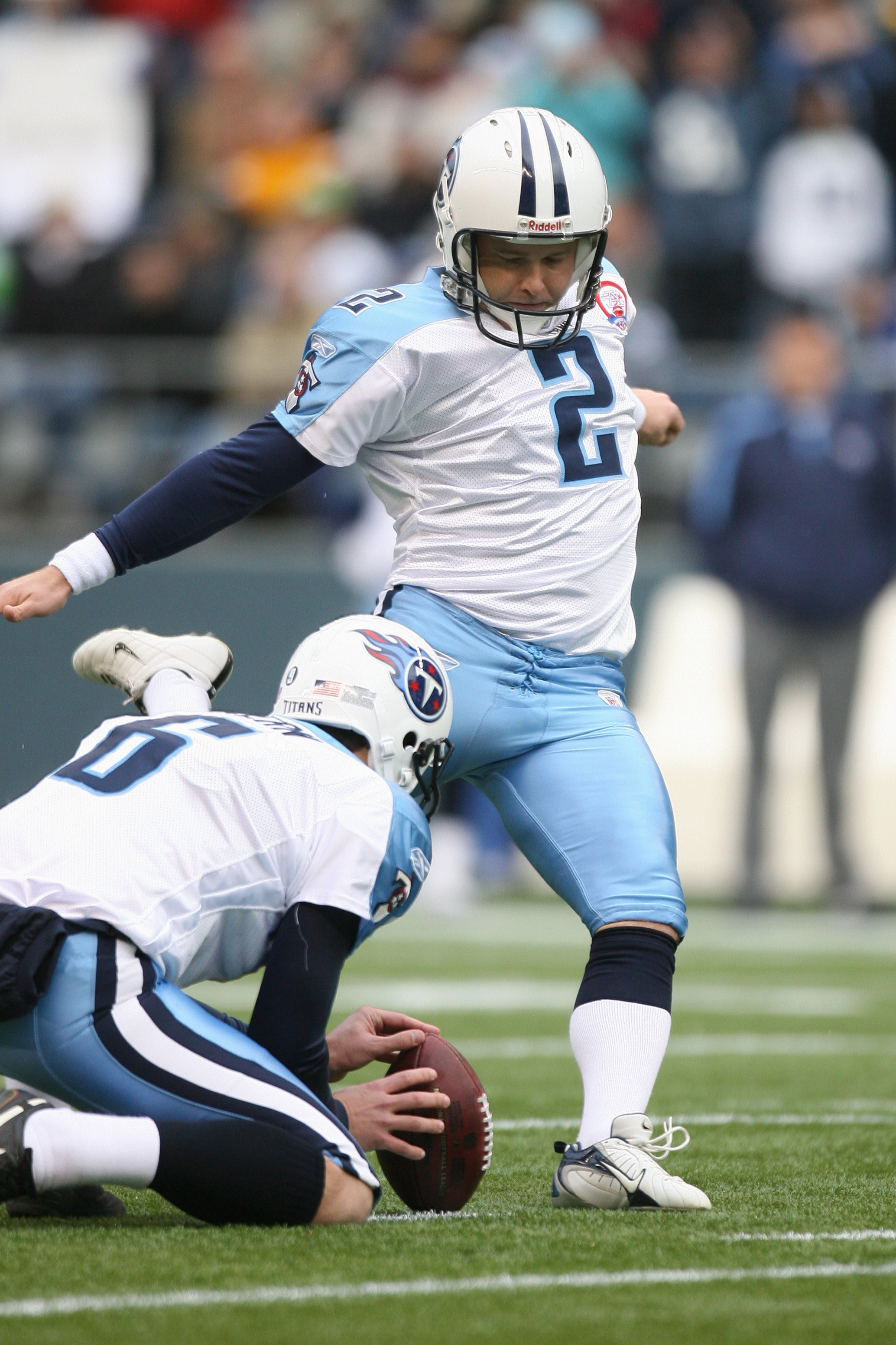 SEATTLE - JANUARY 03:  Rob Bironas #2 of the Tennessee Titans kicks during the game against the Seattle Seahawks on January 3, 2010 at Qwest Field in Seattle, Washington. (Photo by Otto Greule Jr/Getty Images)