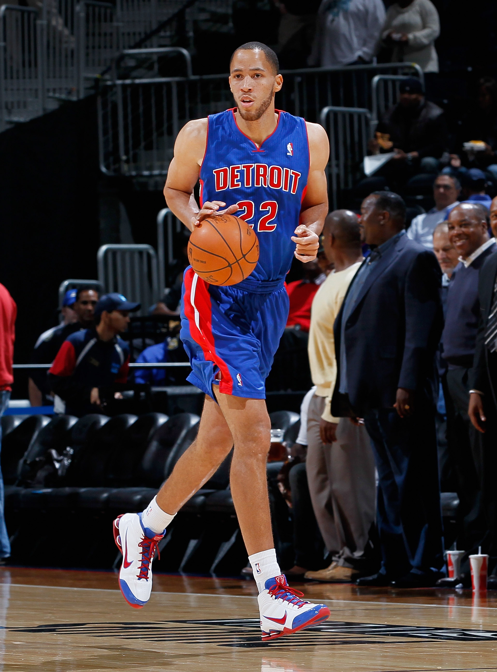 ATLANTA - NOVEMBER 03:  Tayshaun Prince #22 of the Detroit Pistons against the Atlanta Hawks at Philips Arena on November 3, 2010 in Atlanta, Georgia.  NOTE TO USER: User expressly acknowledges and agrees that, by downloading and/or using this Photograph,