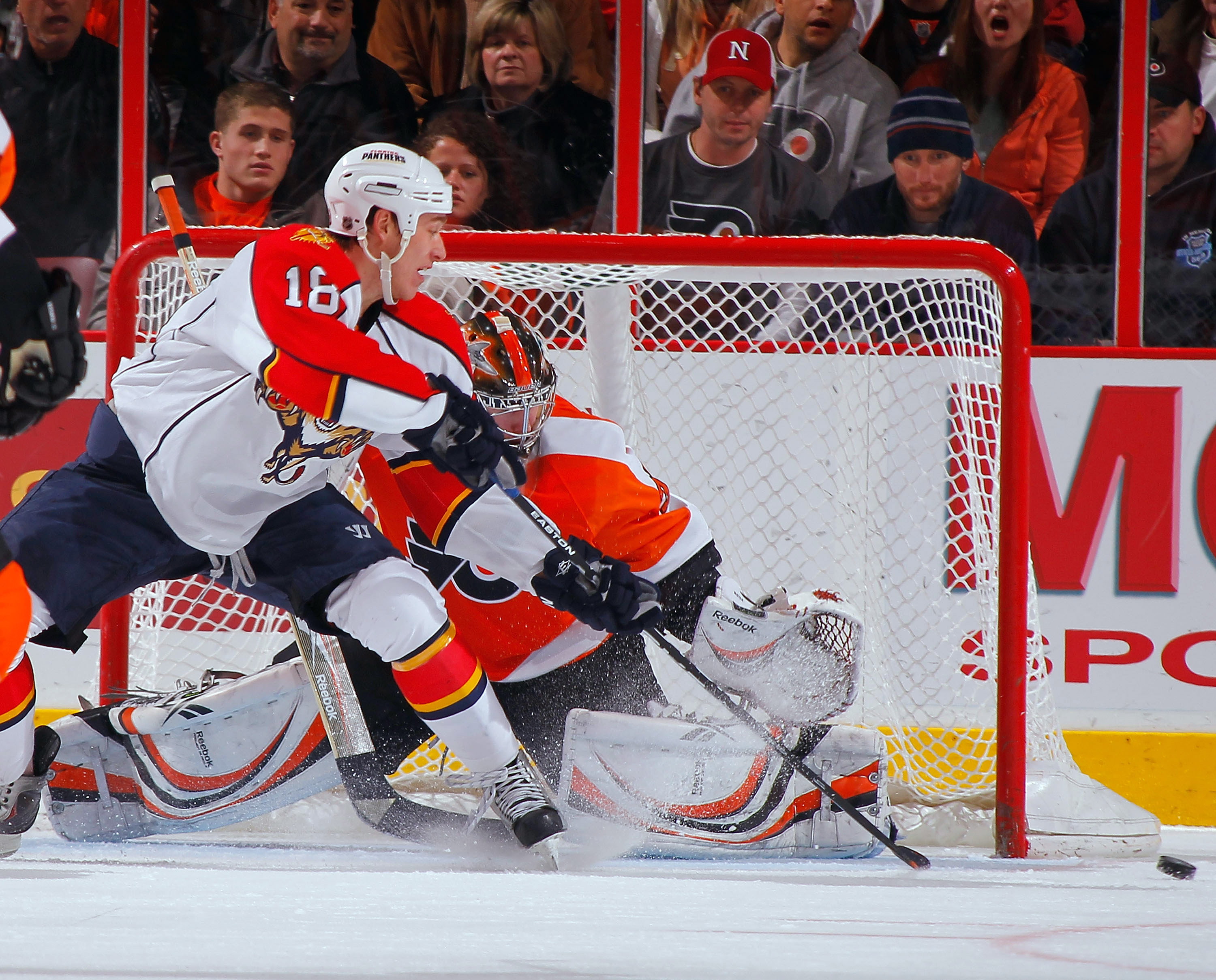 PHILADELPHIA, PA - DECEMBER 20:  Shawn Matthias #18 of the Florida Panthers has his shot go wide of the net as he tried to score on goalie Sergei Bobrovsky #35 of the Philadelphia Flyers during the second period of a hockey game at the Wells Fargo Center