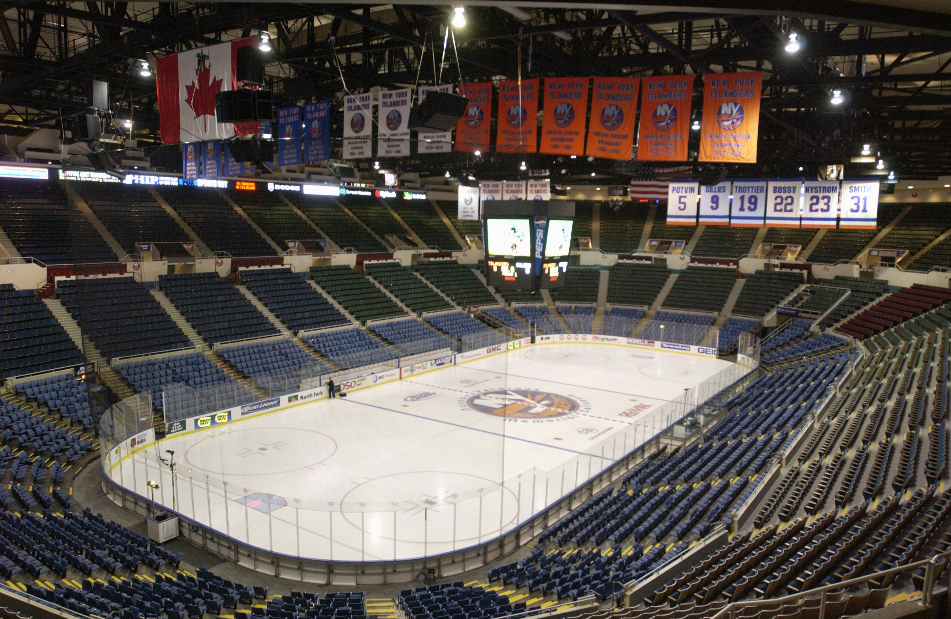 UNIONDALE, NY - NOVEMBER 8: Interior view of the Nassau Collisium, home of the New York Islanders taken on November 8, 2002 in Uniondale, New York (Photo by Ezra Shaw/Getty Images)
