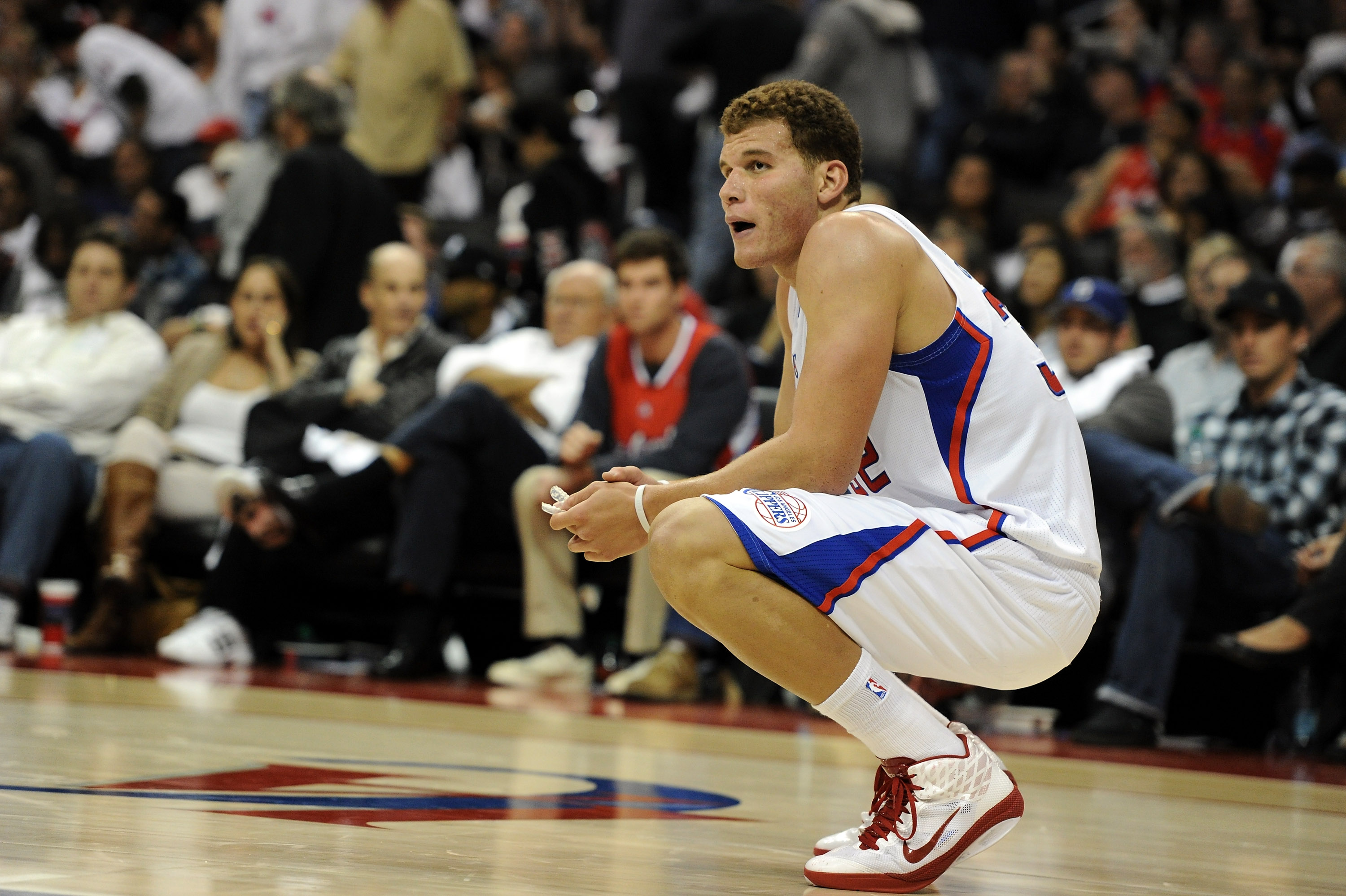 LOS ANGELES, CA - OCTOBER 27:  Blake Griffin #35 of the Los Angeles Clippers reacts during a 98-88 loss to the Portland Trail Blazers at Staples Center on October 27, 2010 in Los Angeles, California. NOTE TO USER: User expressly acknowledges and agrees th