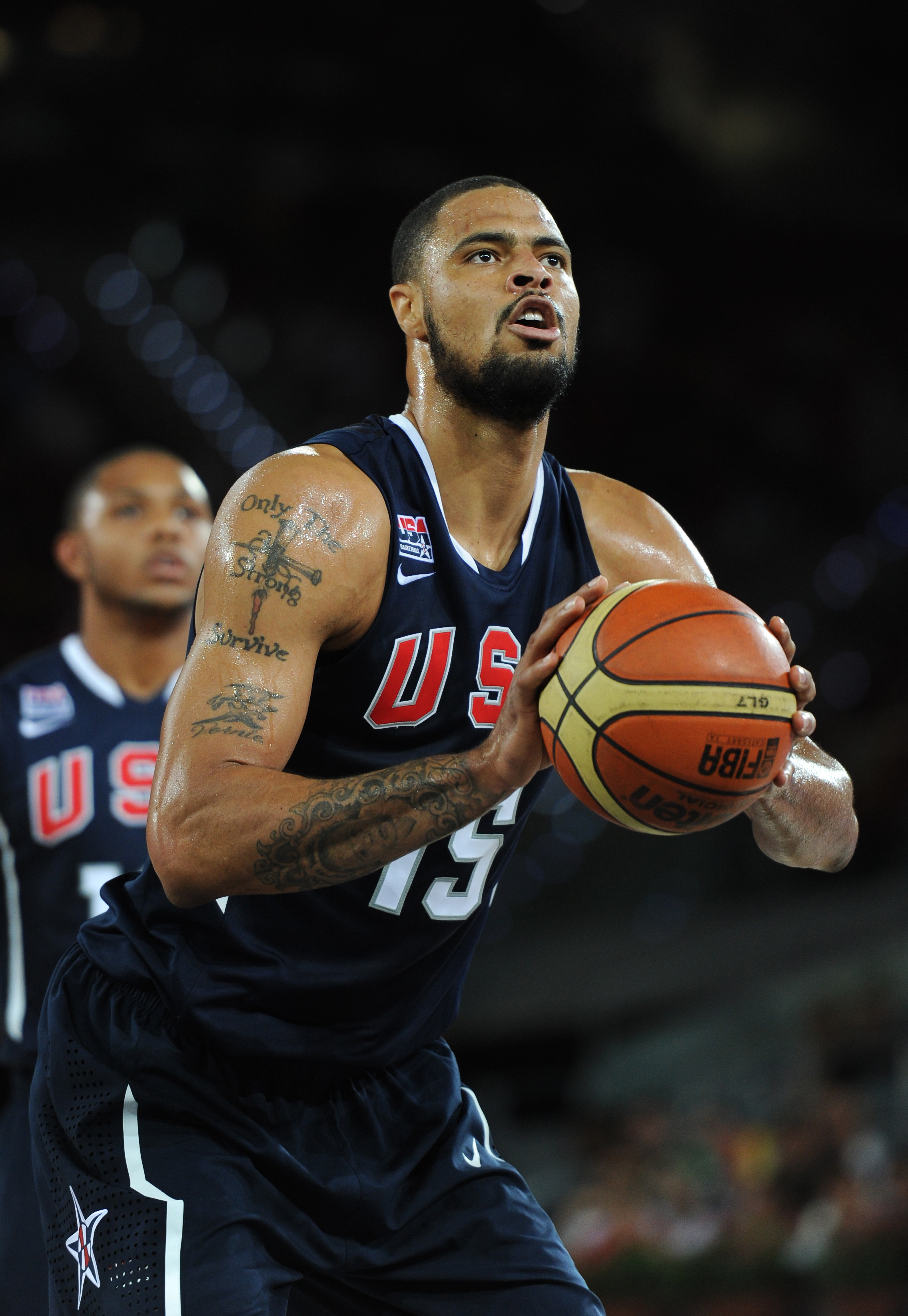 MADRID, SPAIN - AUGUST 22:  Tyson Chandler of the USA concentrates on a free throw during a friendly basketball game between Spain and the USA at La Caja Magica on August 22, 2010 in Madrid, Spain.  (Photo by Jasper Juinen/Getty Images)