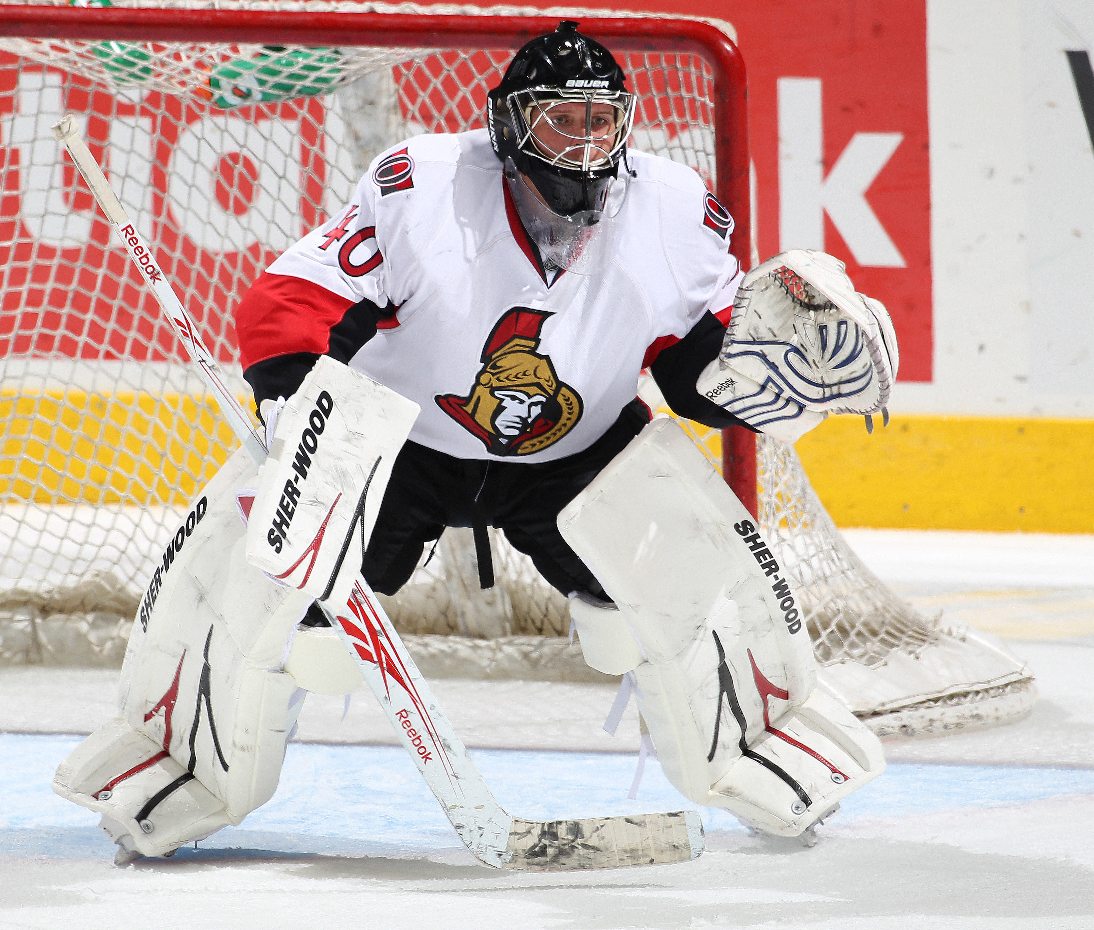 LONDON, CANADA - SEPTEMBER 11:  Robin Lehner #40 of the Ottawa Senators waits for a shot in a game against the Pittsburgh Penguins during the NHL Rookie Tournament on September 11, 2010 at the John Labatt Centre in London,Ontario. The Penguins defeated th