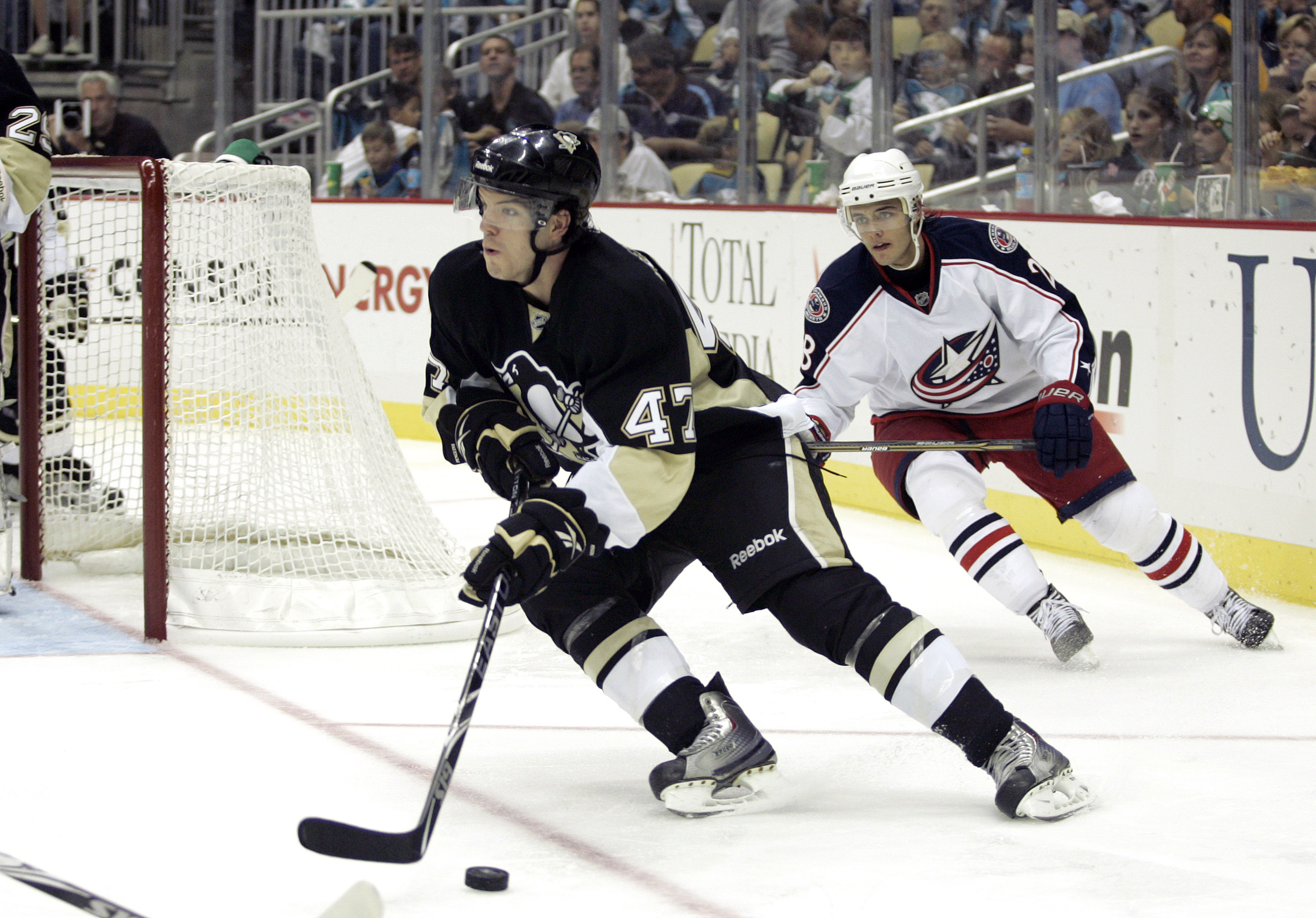 PITTSBURGH - SEPTEMBER 25:  Simon Despres #47 of the Pittsburgh Penguins handles the puck against the Columbus Blue Jackets at Consol Energy Center on September 25, 2010 in Pittsburgh, Pennsylvania.  (Photo by Justin K. Aller/Getty Images)