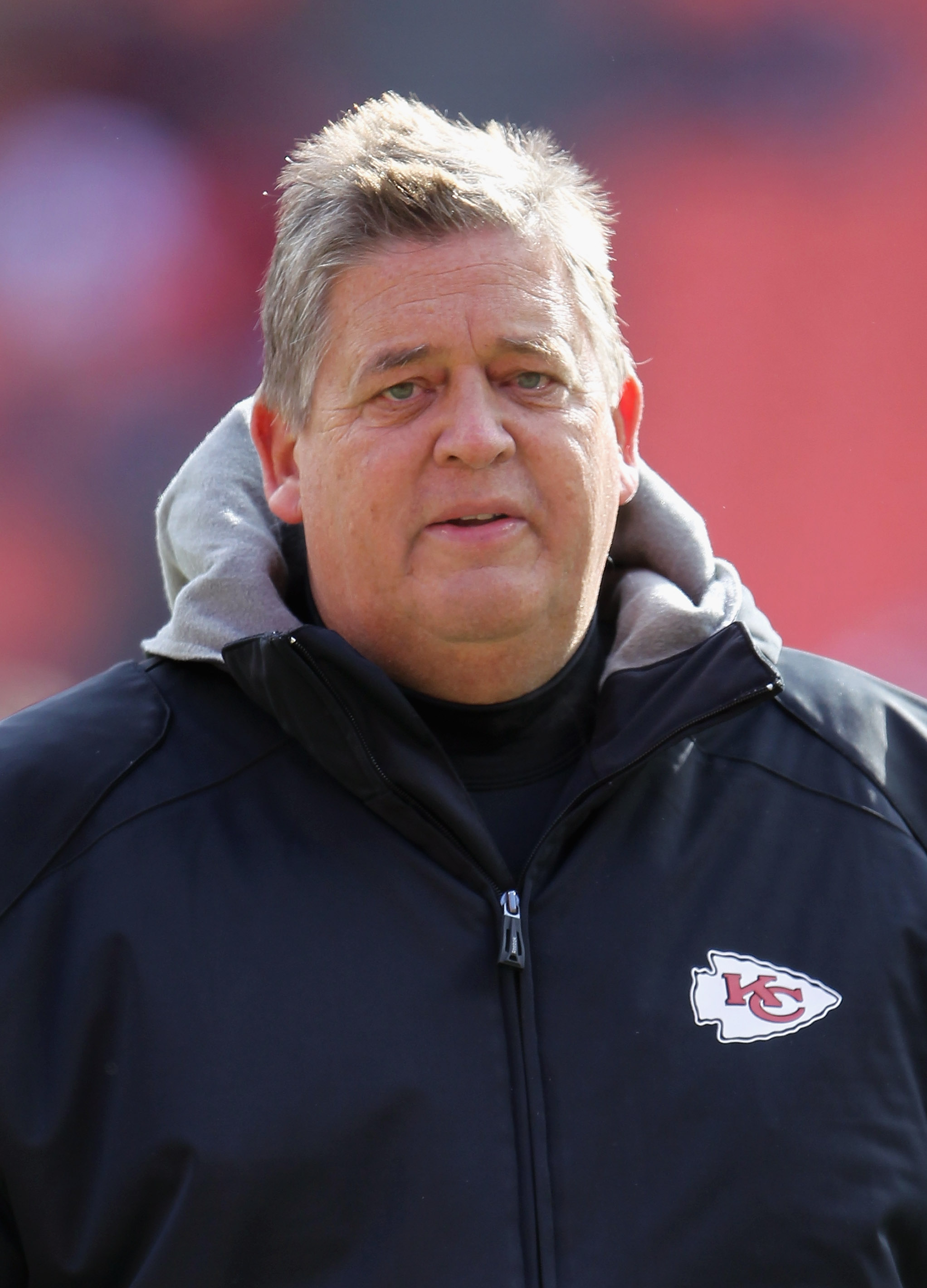 KANSAS CITY, MO - DECEMBER 05:  Offensive coordinator Charlie Weis of the Kansas City Chiefs walks on the field prior to the game against the Denver Broncos on December 5, 2010 at Arrowhead Stadium in Kansas City, Missouri.  (Photo by Jamie Squire/Getty I