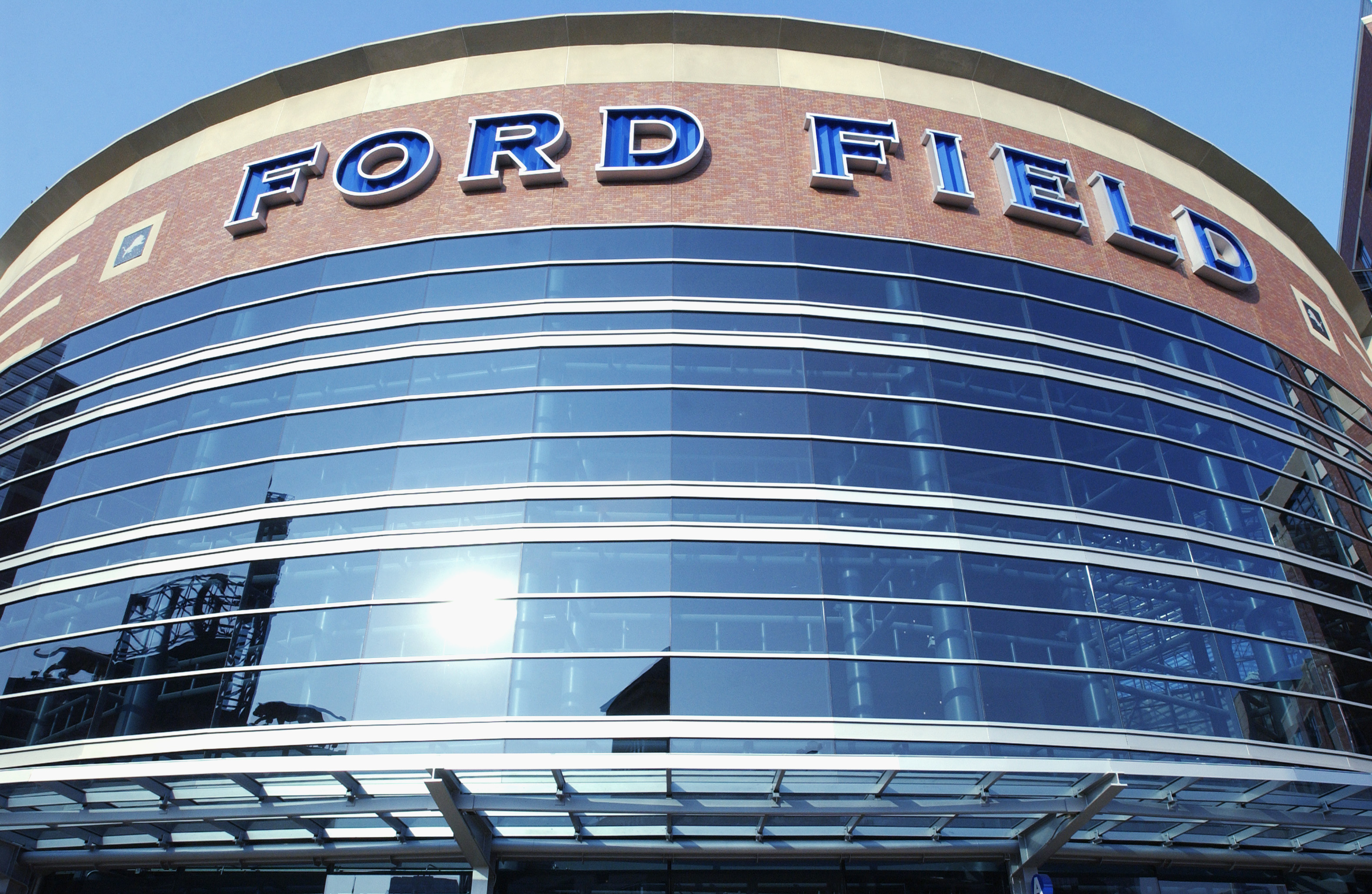 DETROIT, MI - SEPTEMBER 29:  An exterior view of Ford Field taken before the game between the New Orleans Saints and the Detroit Lions on September 29, 2002 at Ford Field in Detroit, Michigan. The Lions won 26-21. (Photo by Darron R. Silva/ Getty Images)