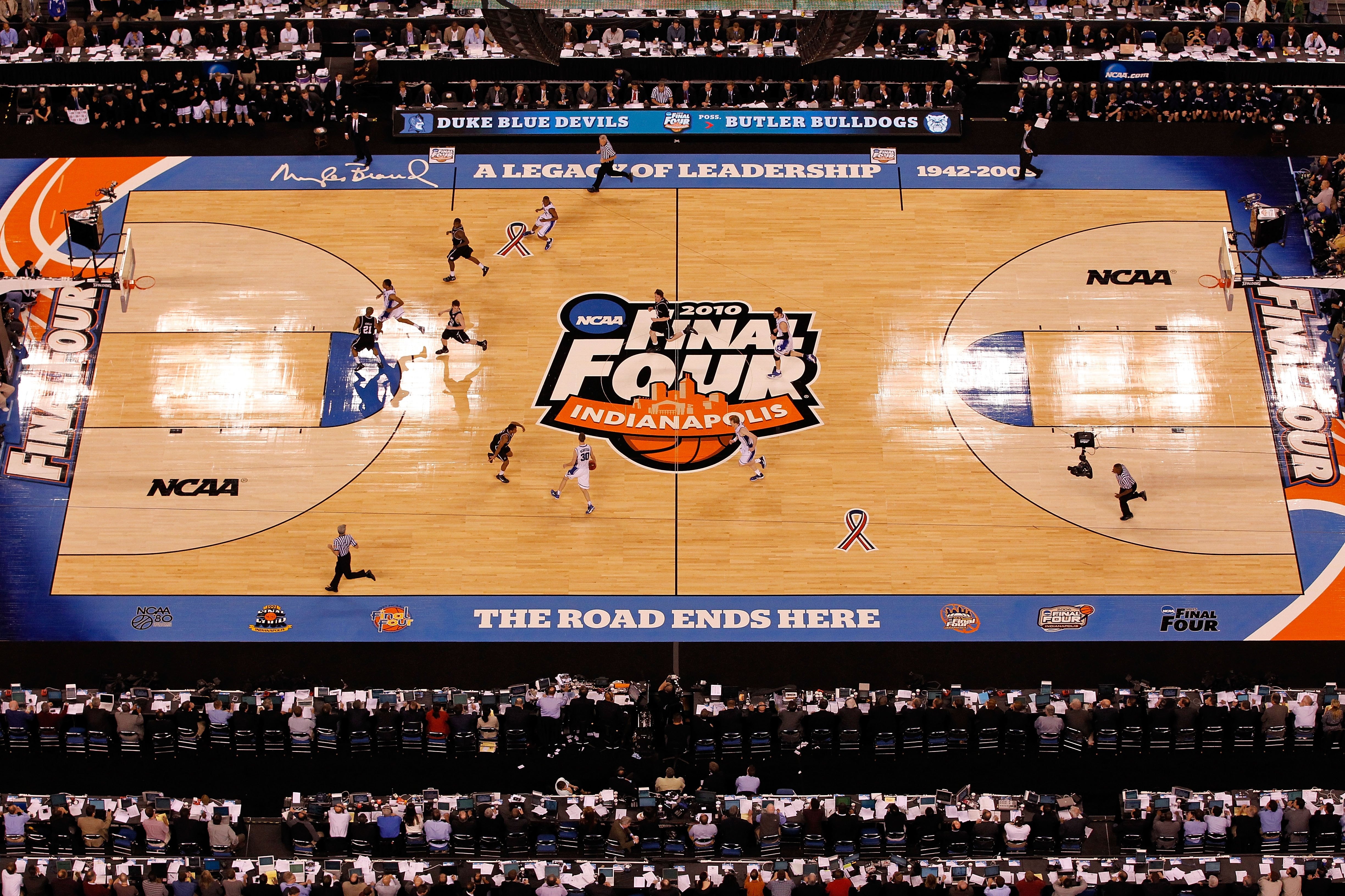 INDIANAPOLIS - APRIL 05:  A general view of the Butler Bulldogs playing against the Duke Blue Devils during the 2010 NCAA Division I Men's Basketball National Championship game at Lucas Oil Stadium on April 5, 2010 in Indianapolis, Indiana.  (Photo by Kev