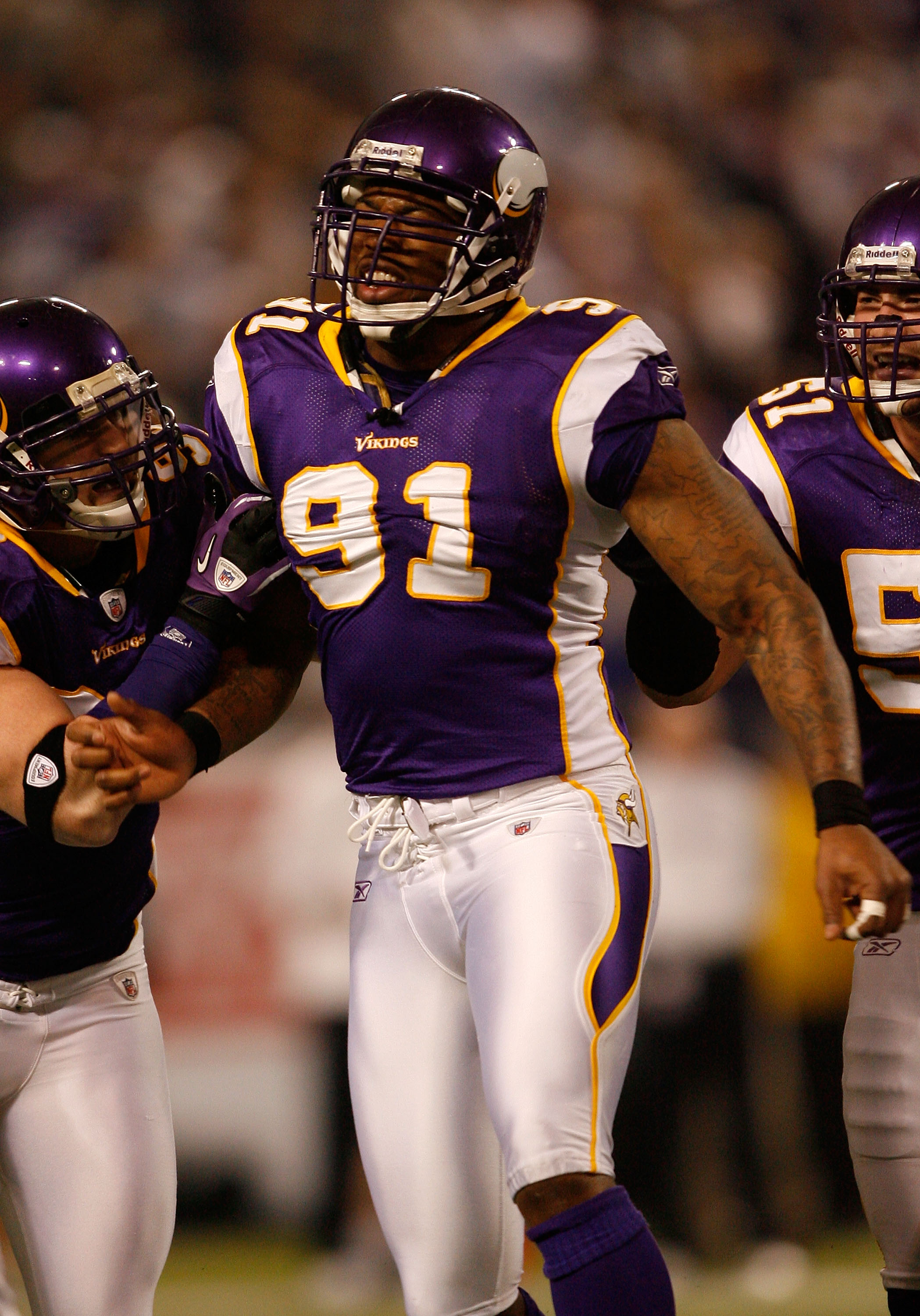 MINNEAPOLIS - JANUARY 17:  Ray Edwards #91 of the Minnesota Vikings celebrates a sack that led to a fumble in the first quarter of the game against the Dallas Cowboys during the NFC Divisional Playoff Game at Hubert H. Humphrey Metrodome on January 17, 20