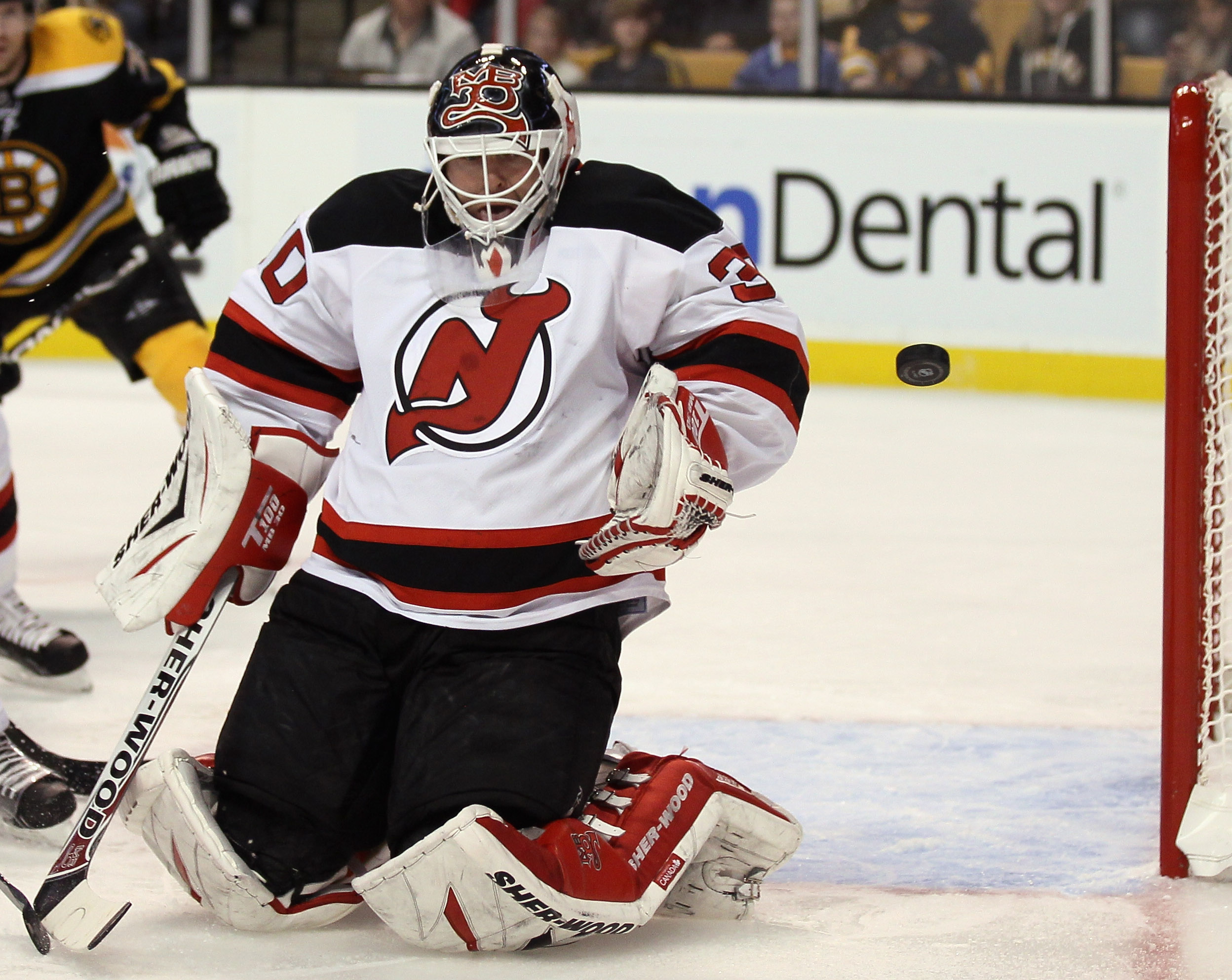 BOSTON - NOVEMBER 15:  Martin Brodeur #30 of the New Jersey Devils stops a shot in the first period against the Boston Bruins on November 15, 2010 at the TD Garden in Boston, Massachusetts.  (Photo by Elsa/Getty Images)