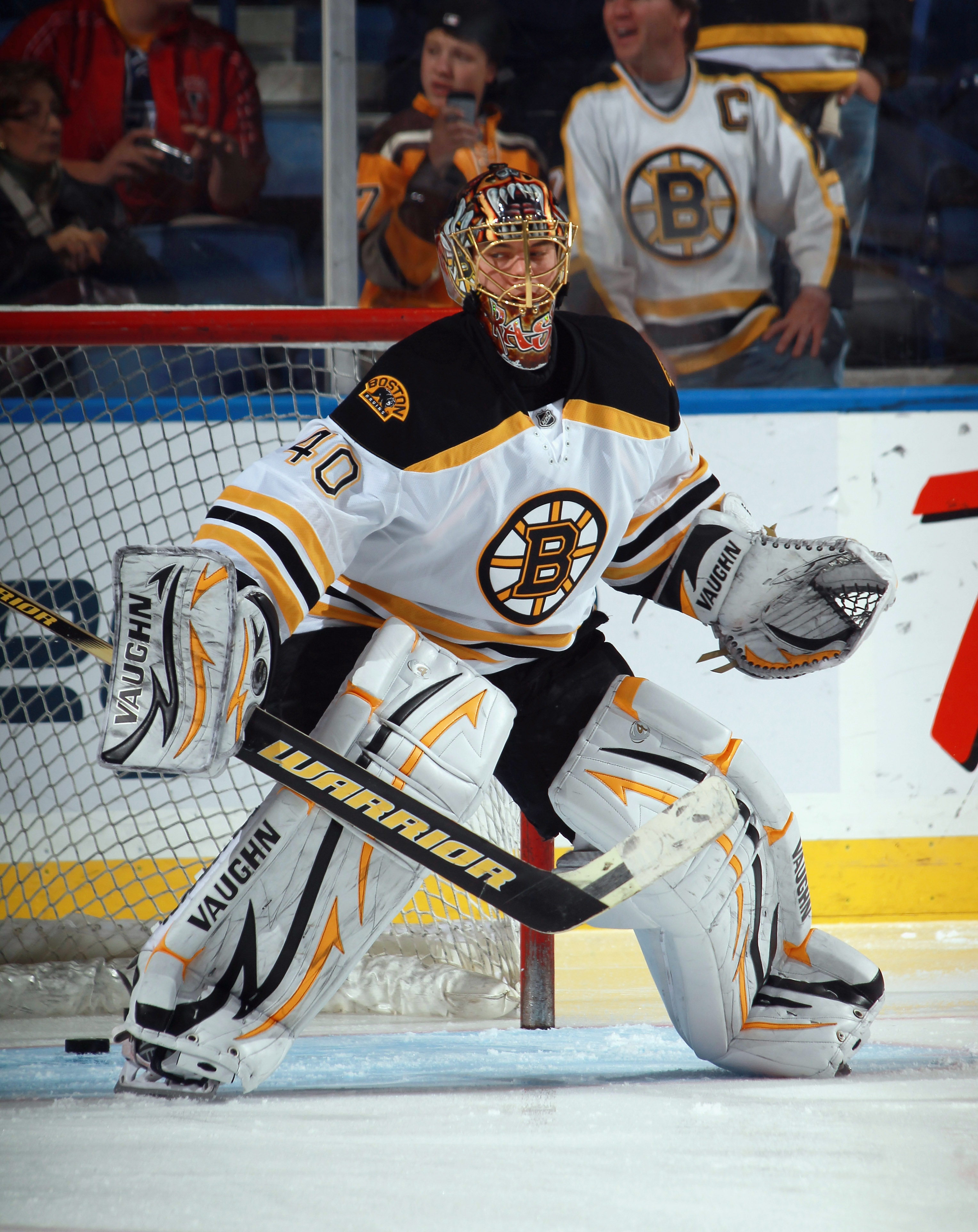 BUFFALO, NY - NOVEMBER 03: Tuukka Rask #40 of the Boston Bruins skates during warmups prior to the game against the Buffalo Sabres at the HSBC Arena on November 3, 2010 in Buffalo, New York. The Bruins defeated the Sabres 5-2.  (Photo by Bruce Bennett/Get