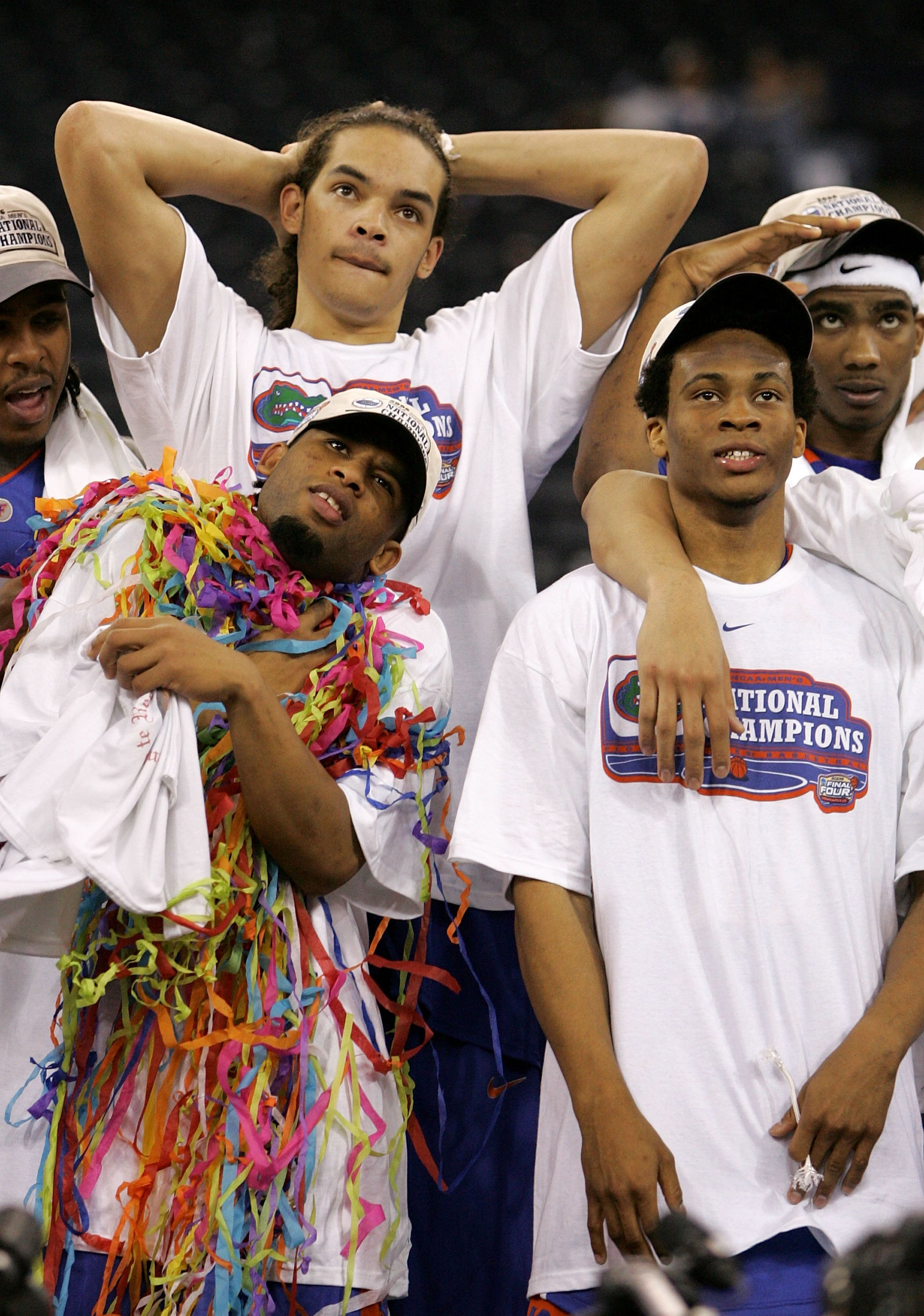 INDIANAPOLIS - APRIL 03:  (L-R) Walter Hodge #15, Joakim Noah #13, Taurean Green #11 and Corey Brewer #2 of the Florida Gators celebrate after defeating the UCLA Bruins 73-57 during the National Championship game of the NCAA Men's Final Four on April 3, 2