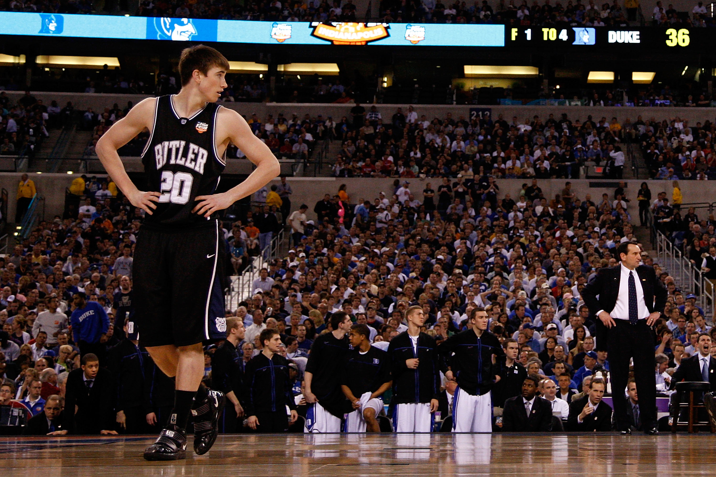 INDIANAPOLIS - APRIL 05:  Gordon Hayward #20 of the Butler Bulldogs looks on against the Duke Blue Devils during the 2010 NCAA Division I Men's Basketball National Championship game at Lucas Oil Stadium on April 5, 2010 in Indianapolis, Indiana.  (Photo b