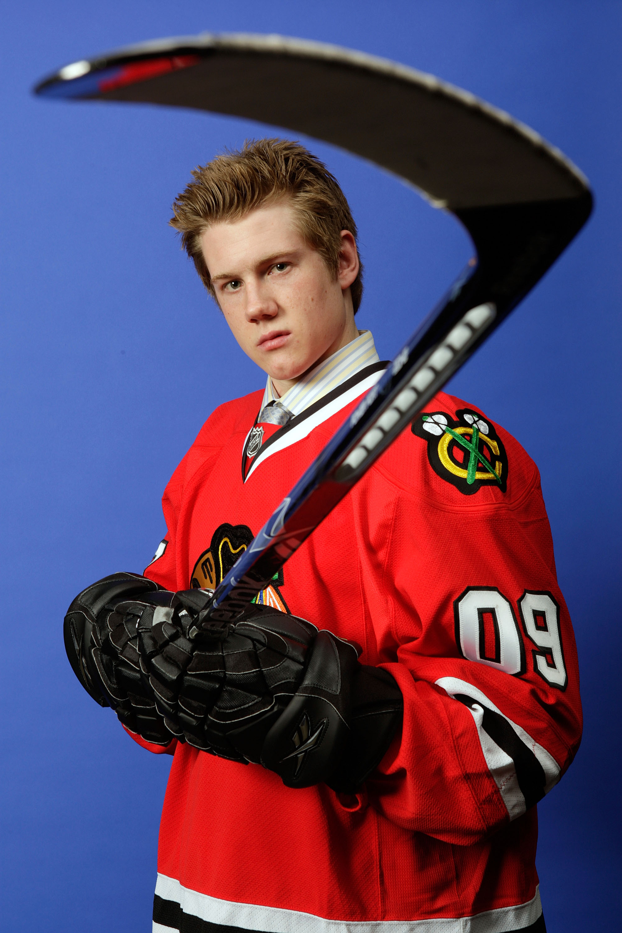 MONTREAL, QC - JUNE 26:  Dylan Olsen of the Chicago Blackhawks poses for a portrait  after he was selected #28 overall by the Blackhawks during the first round of the 2009 NHL Entry Draft at the Bell Centre on June 26, 2009 in Montreal, Quebec, Canada.  (