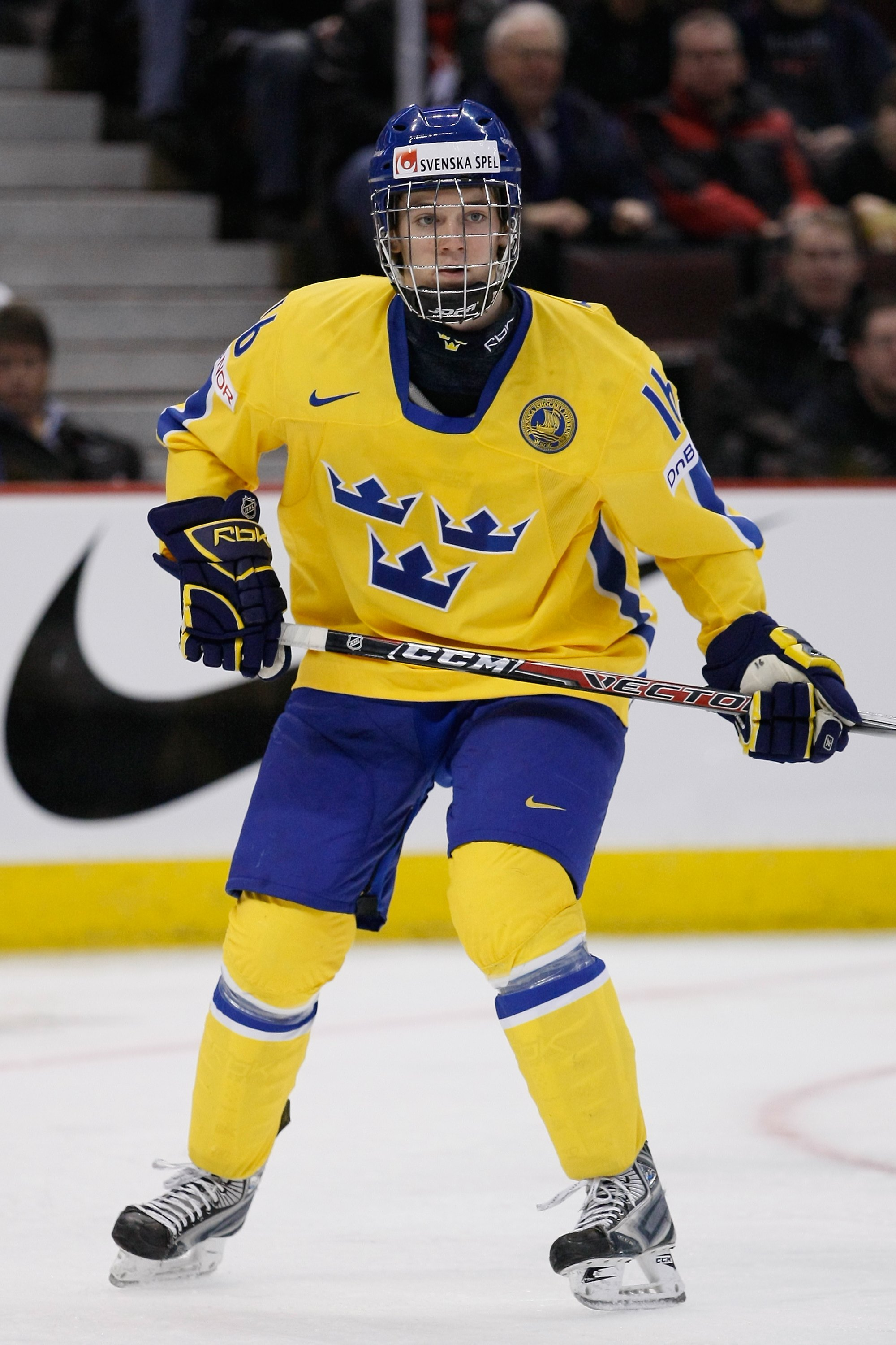 OTTAWA, ON - JANUARY 3:  Tim Erixon #16 of Team Sweden skates during the game against Team Slovakia at the semifinals at the IIHF World Junior Championships at Scotiabank Place on January 03, 2009 in Ottawa, Ontario, Canada.  Team Sweden defeated Team Slo