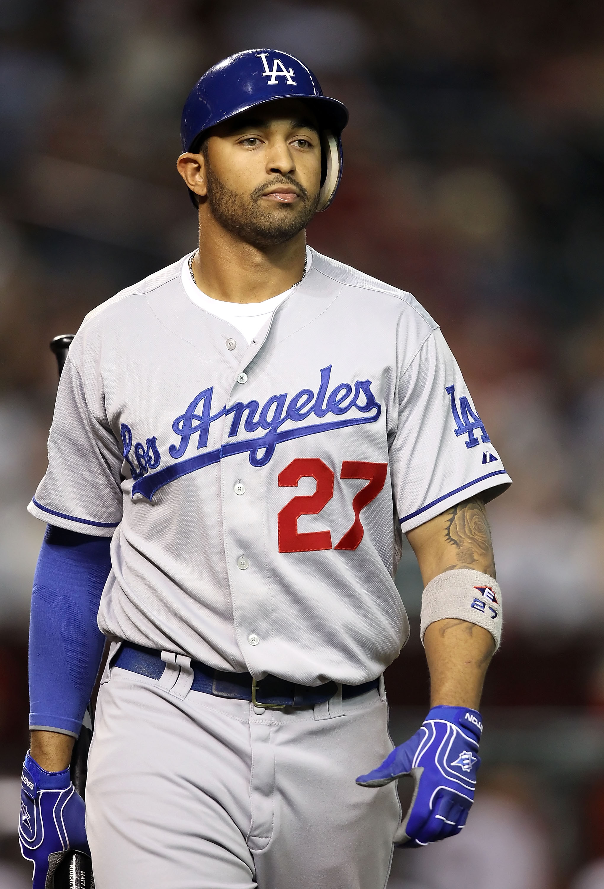 PHOENIX - SEPTEMBER 24:  Matt Kemp #27 of the Los Angeles Dodgers strikes out against the Arizona Diamondbacks during the Major League Baseball game at Chase Field on September 24, 2010 in Phoenix, Arizona.  (Photo by Christian Petersen/Getty Images)