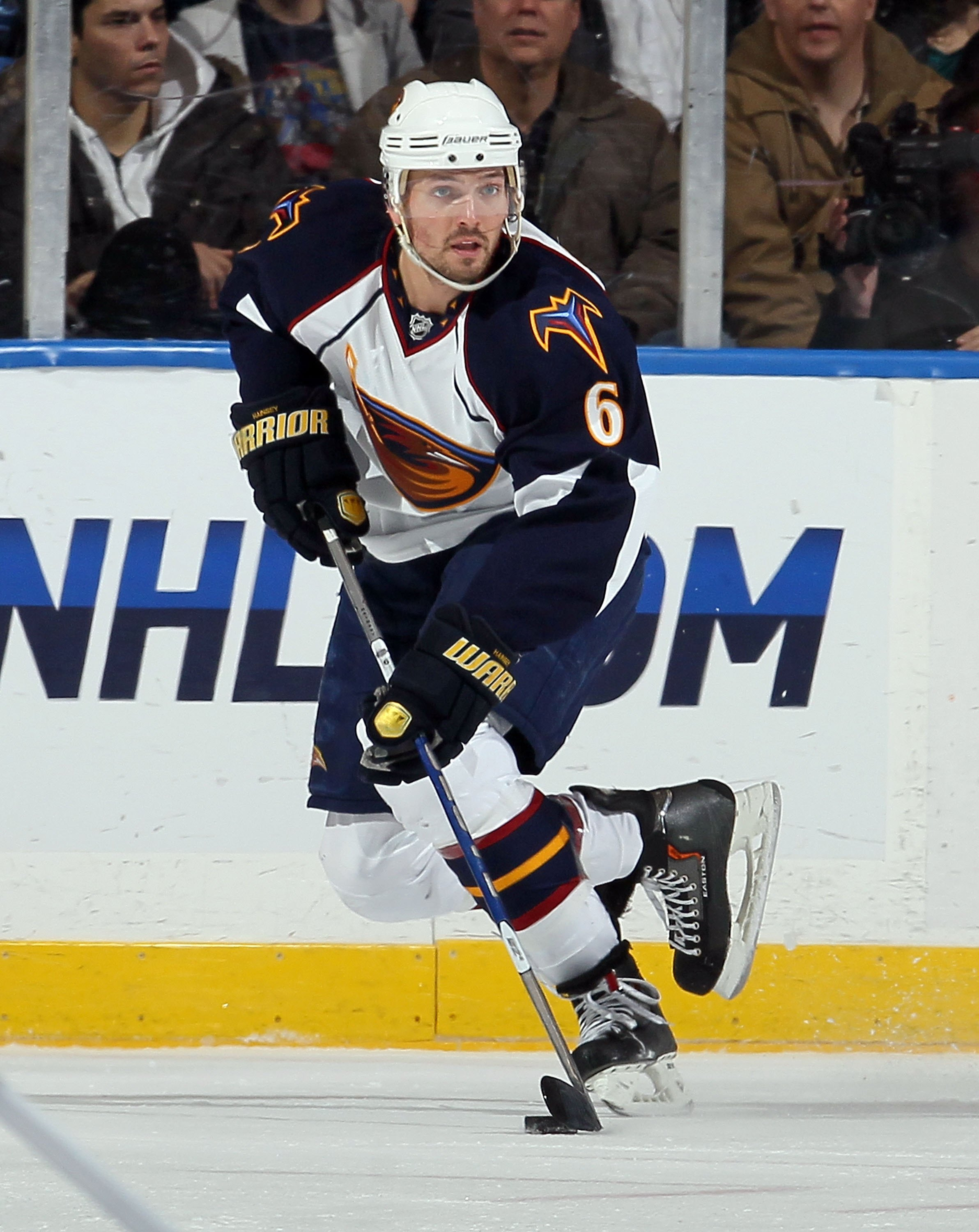 UNIONDALE, NY - DECEMBER 11:  Ron Hainsey #6 of the Atlanta Thrashers skates against the New York Islanders on December 11, 2010 at Nassau Coliseum in Uniondale, New York. The Thrashers defeated the Isles 5-4.  (Photo by Jim McIsaac/Getty Images)