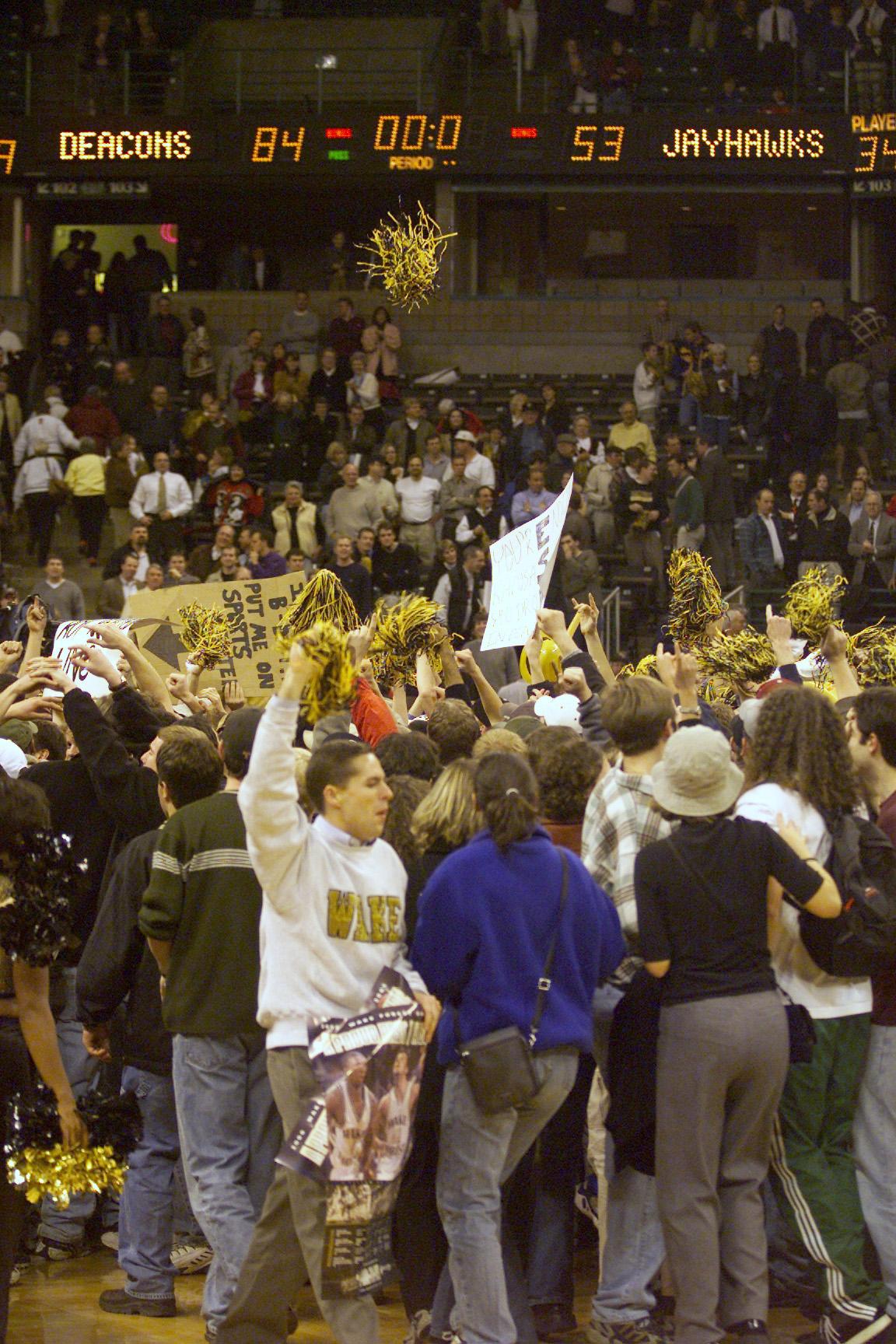 7 Nov 2000:   Wake Forest Demon Deacons fans celebrate their 84-53 victory over the Kansas Jayhawks at Joel Coliseum in Winston Salem, North Carolina. Mandatory DIGITAL IMAGE Credit: Craig Jones/ALLSPORT
